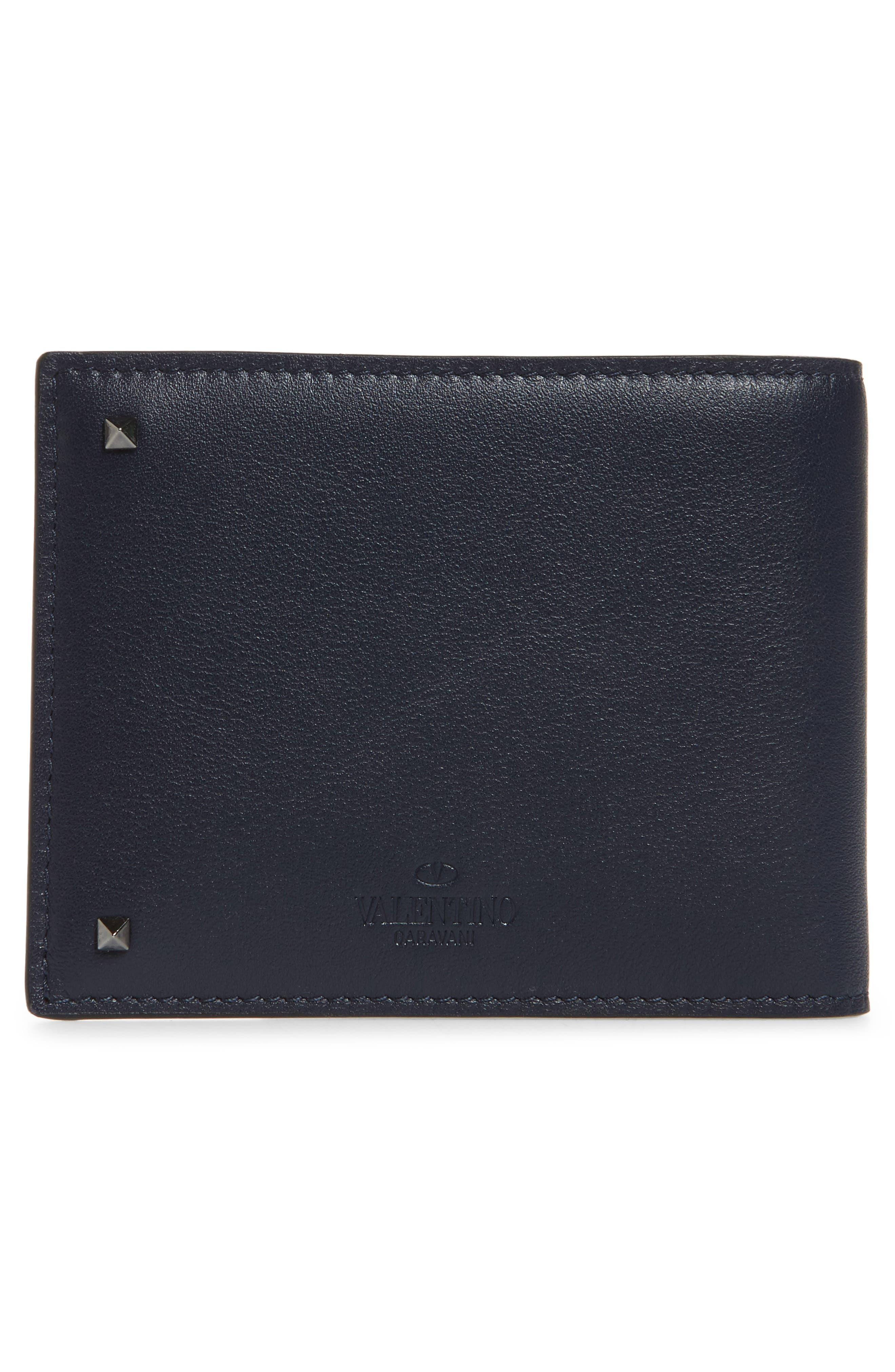 GARAVANI Stud Leather Money Clip Card Case,                             Alternate thumbnail 3, color,                             MARINE