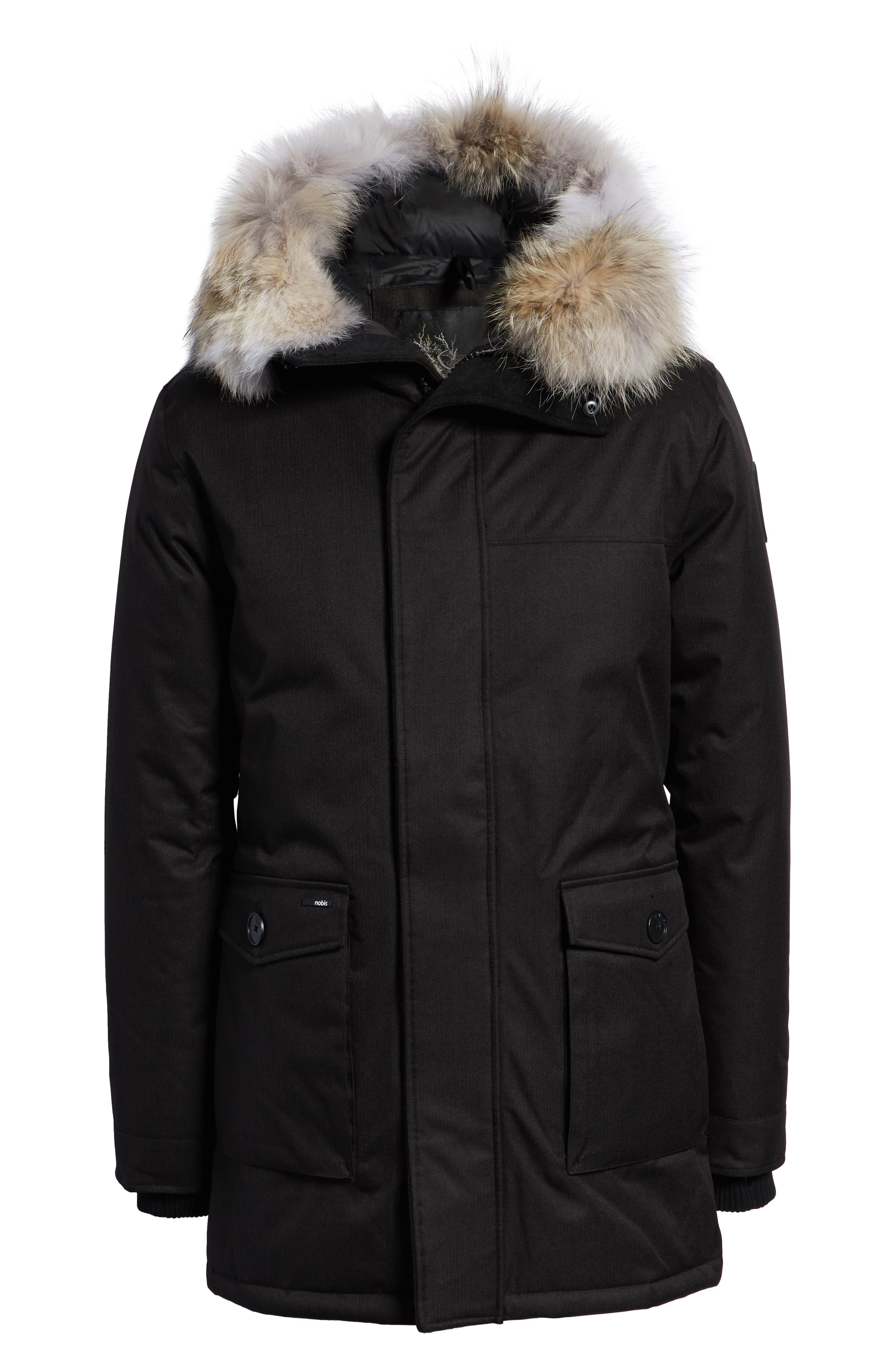 Yves Windproof & Waterproof 650 Fill Power Down Parka with Genuine Coyote Fur Trim,                             Alternate thumbnail 7, color,                             BLACK