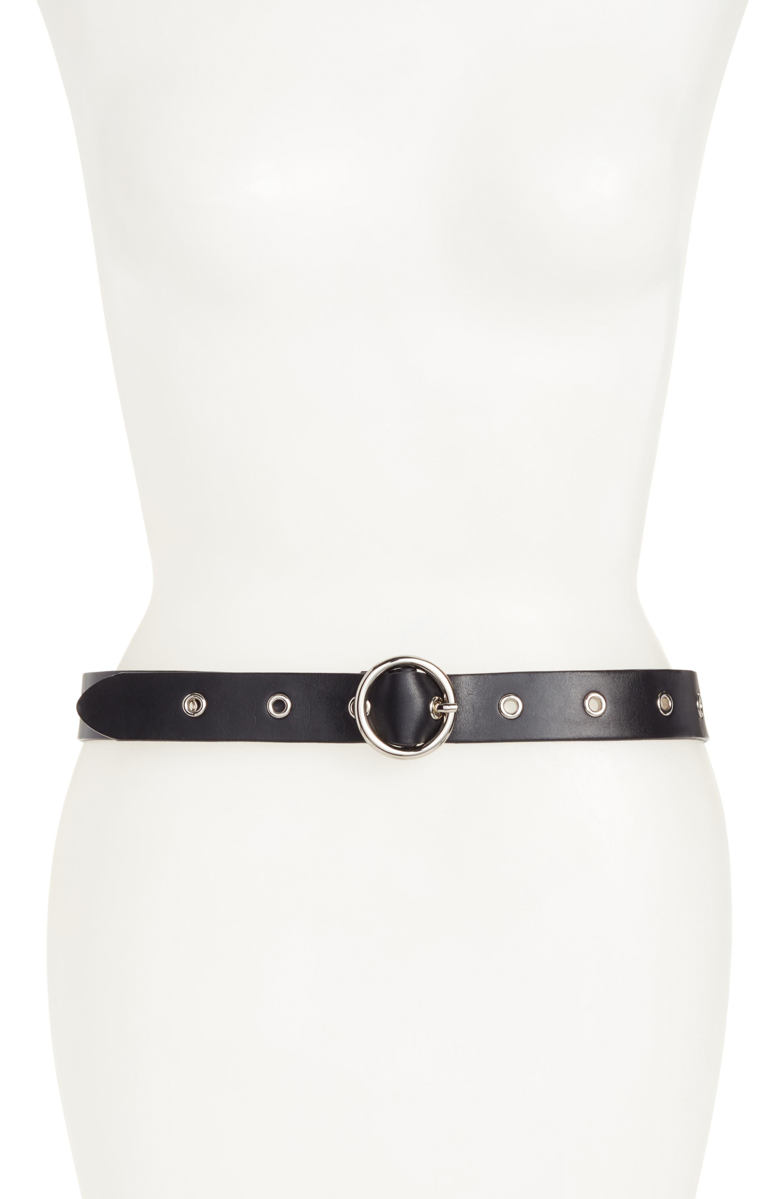 Round Buckle Grommet Leather Belt,                         Main,                         color,