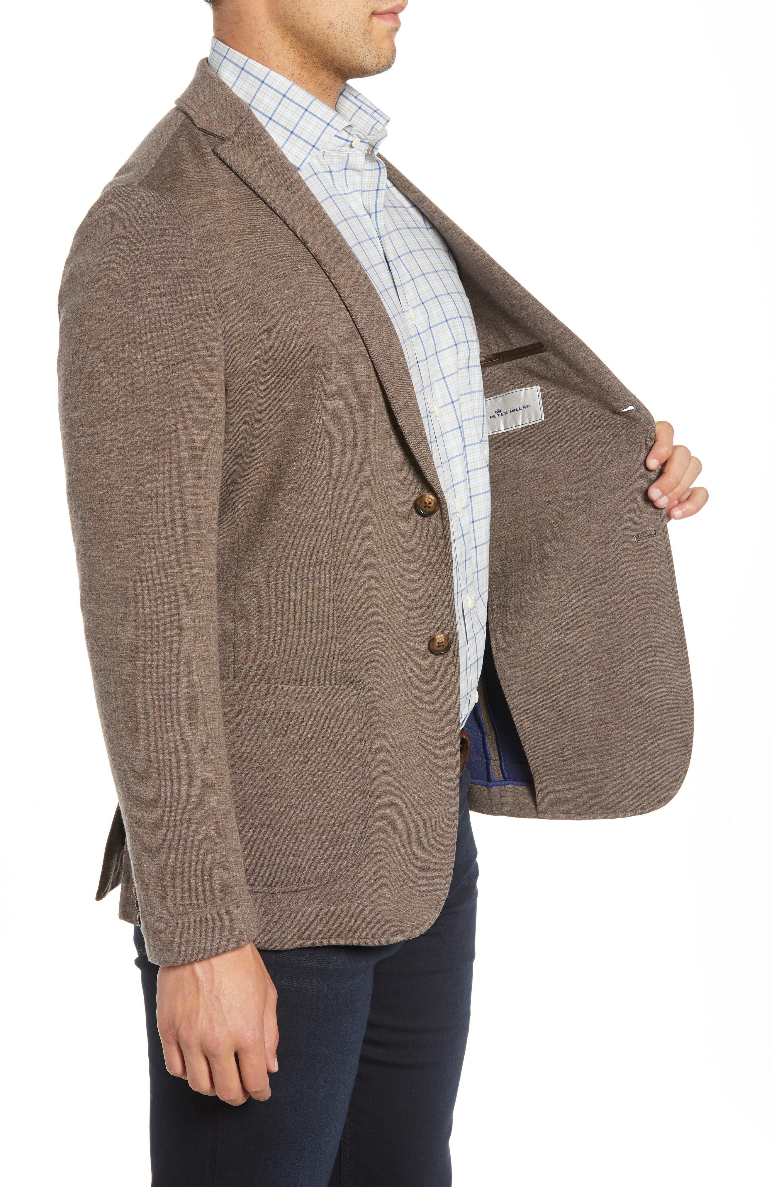 Crown Comfort Knit Blazer,                             Alternate thumbnail 3, color,                             COBBLESTONE