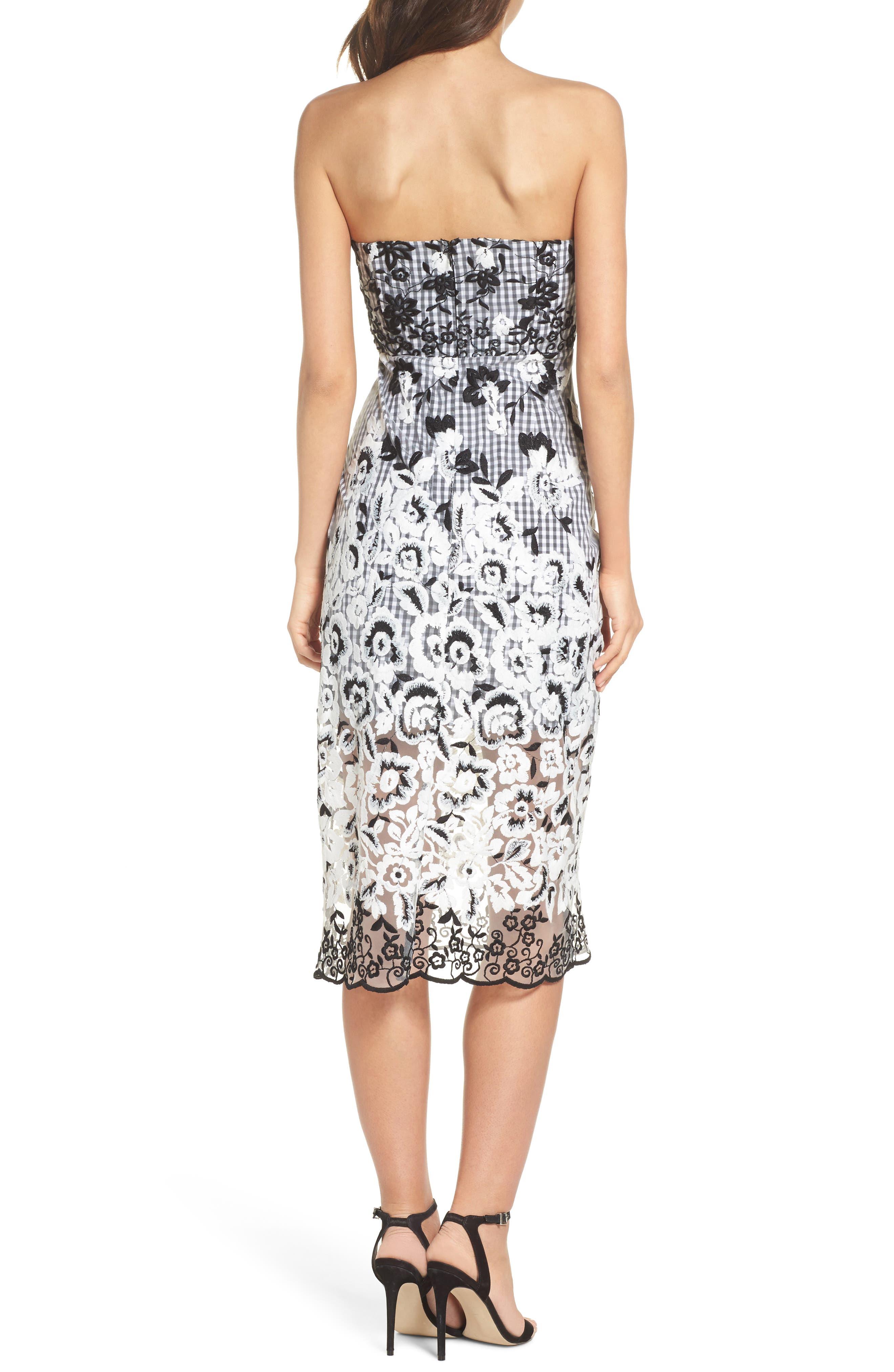 Strapless Midi Dress,                             Alternate thumbnail 2, color,                             001