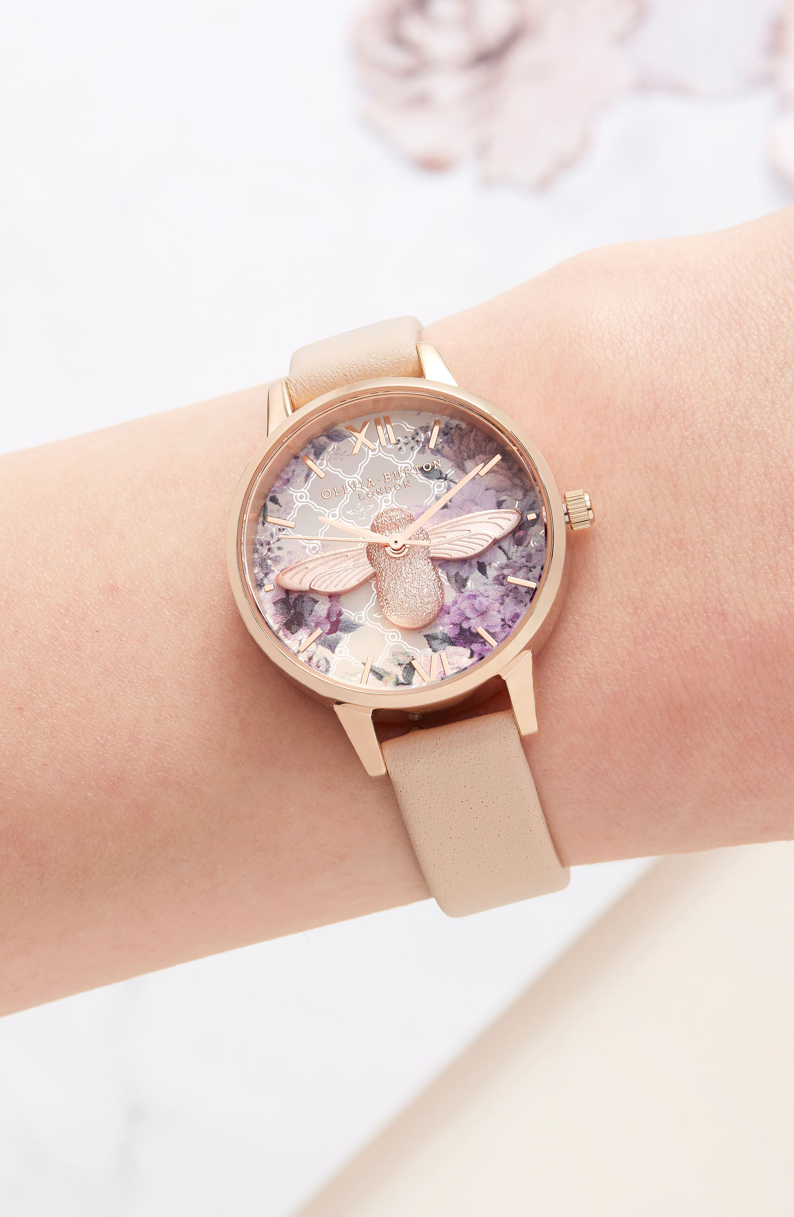 Glasshouse Leather Strap Watch, 30mm,                             Alternate thumbnail 4, color,                             NUDE PEACH/ BEE/ ROSE GOLD