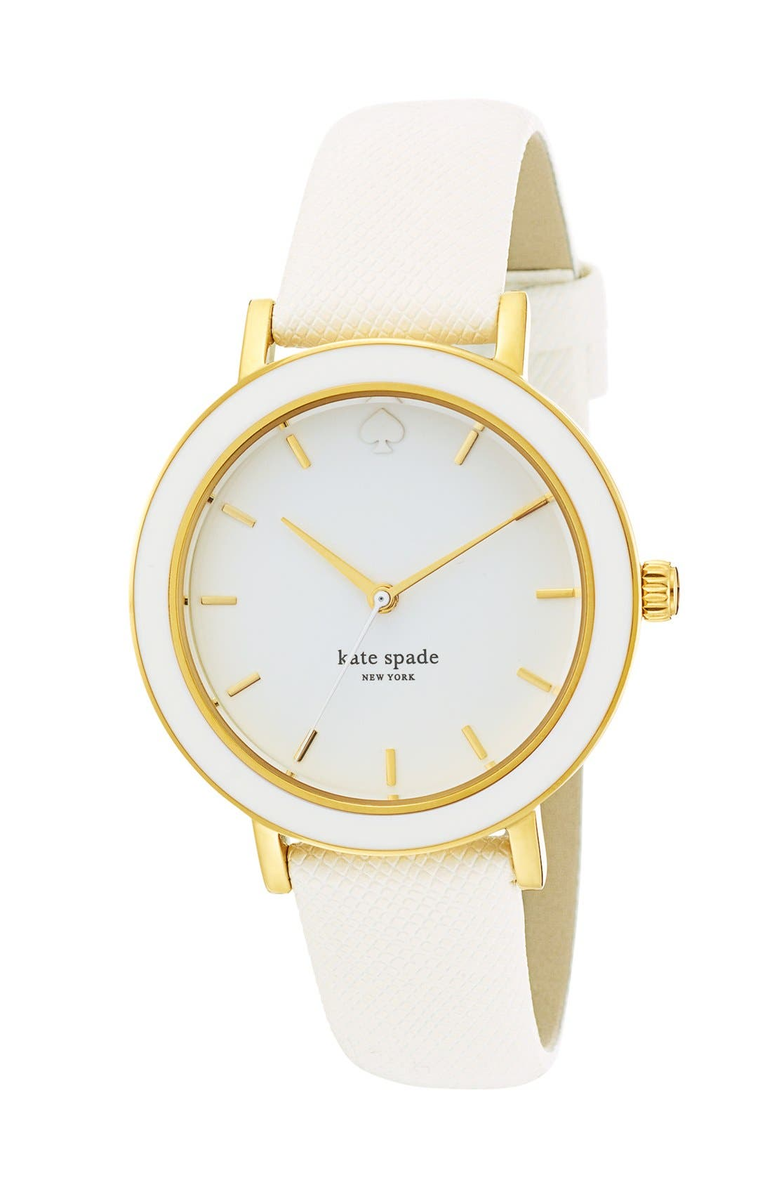 KATE SPADE NEW YORK,                             'metro' enamel bezel leather strap watch, 38mm,                             Alternate thumbnail 2, color,                             100