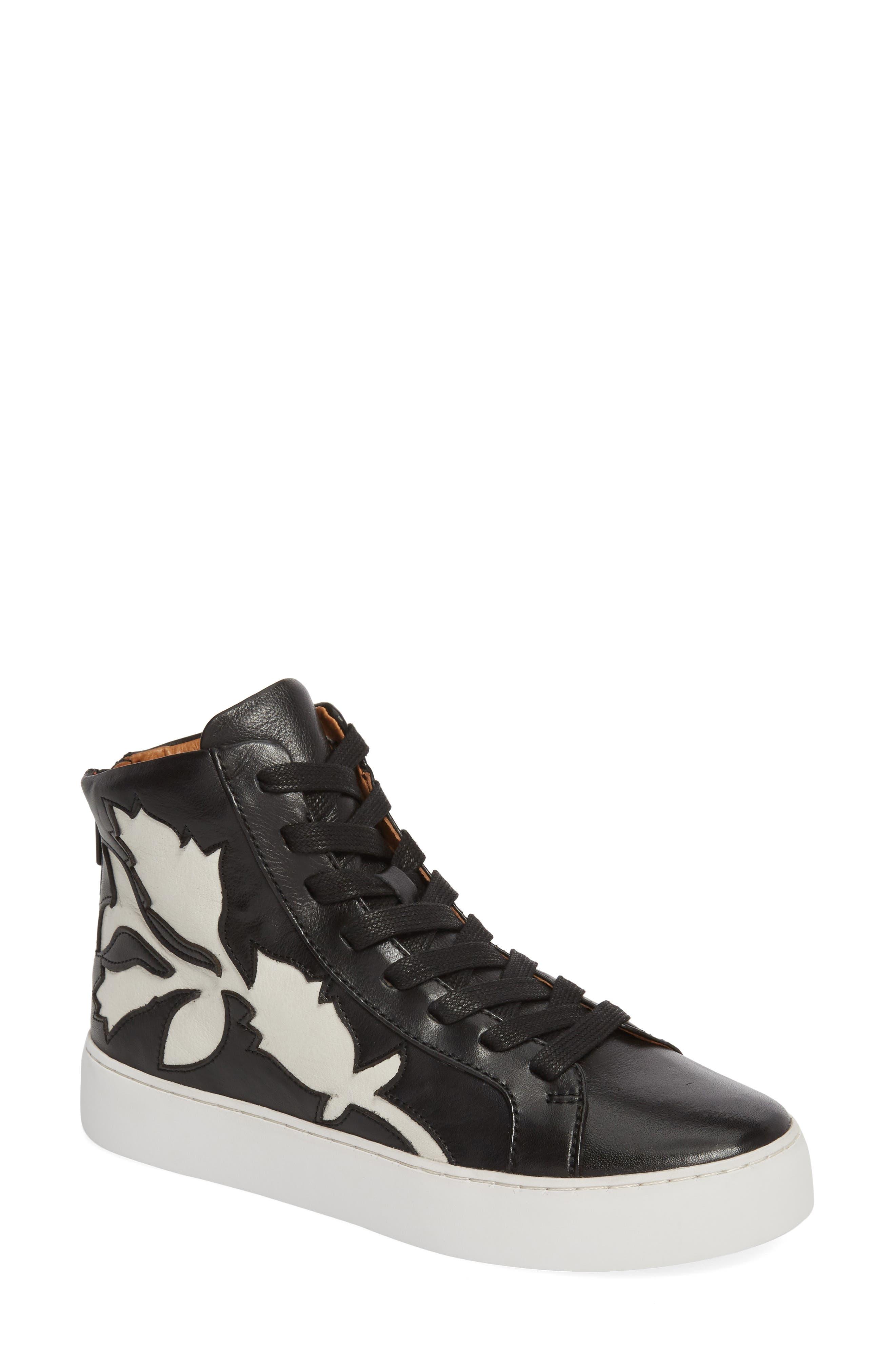 Lena Floral High Top Sneaker,                             Main thumbnail 1, color,                             001