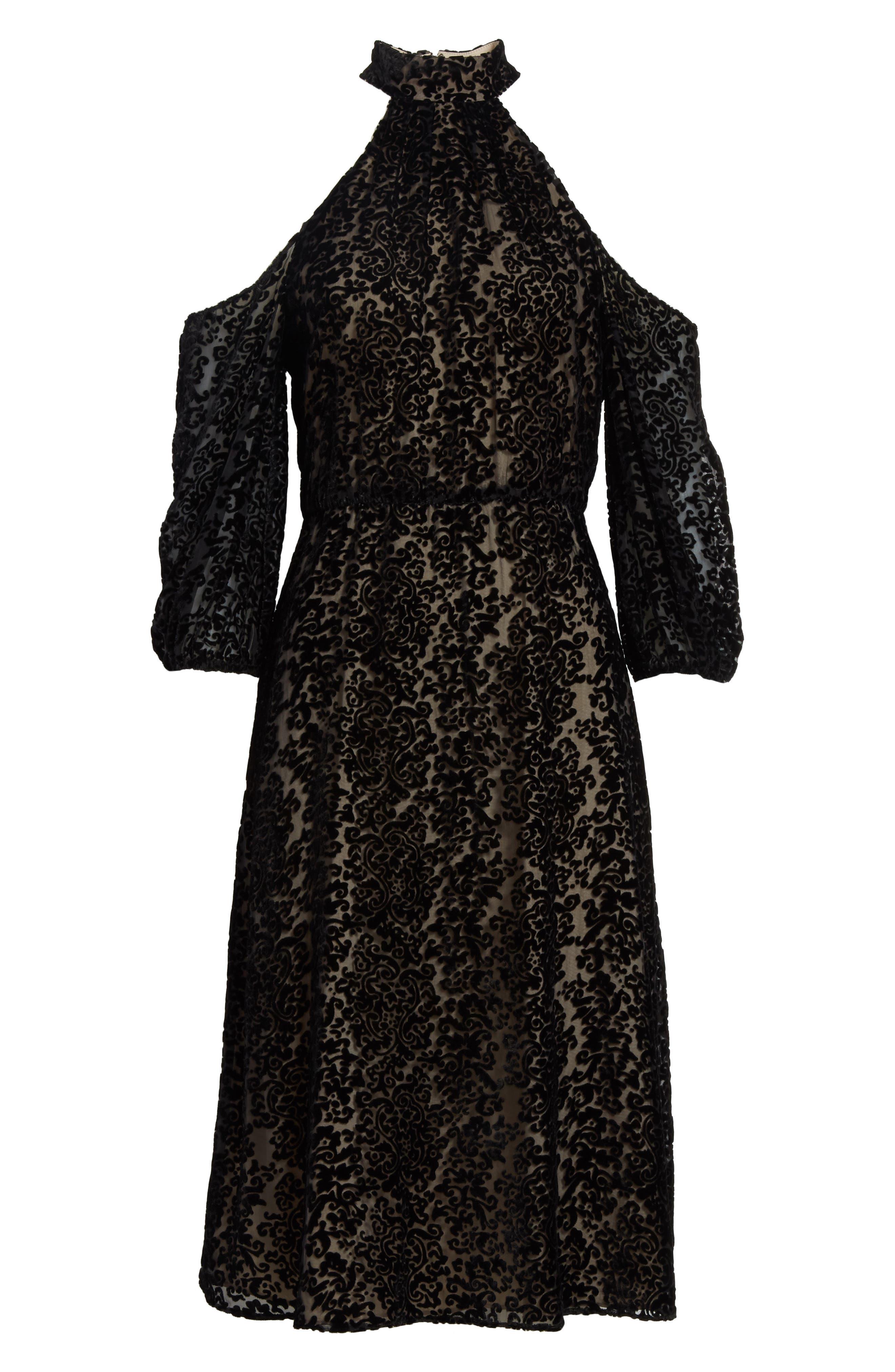 Ruthann Cold Shoulder Burnout Velvet Dress,                             Alternate thumbnail 6, color,                             001