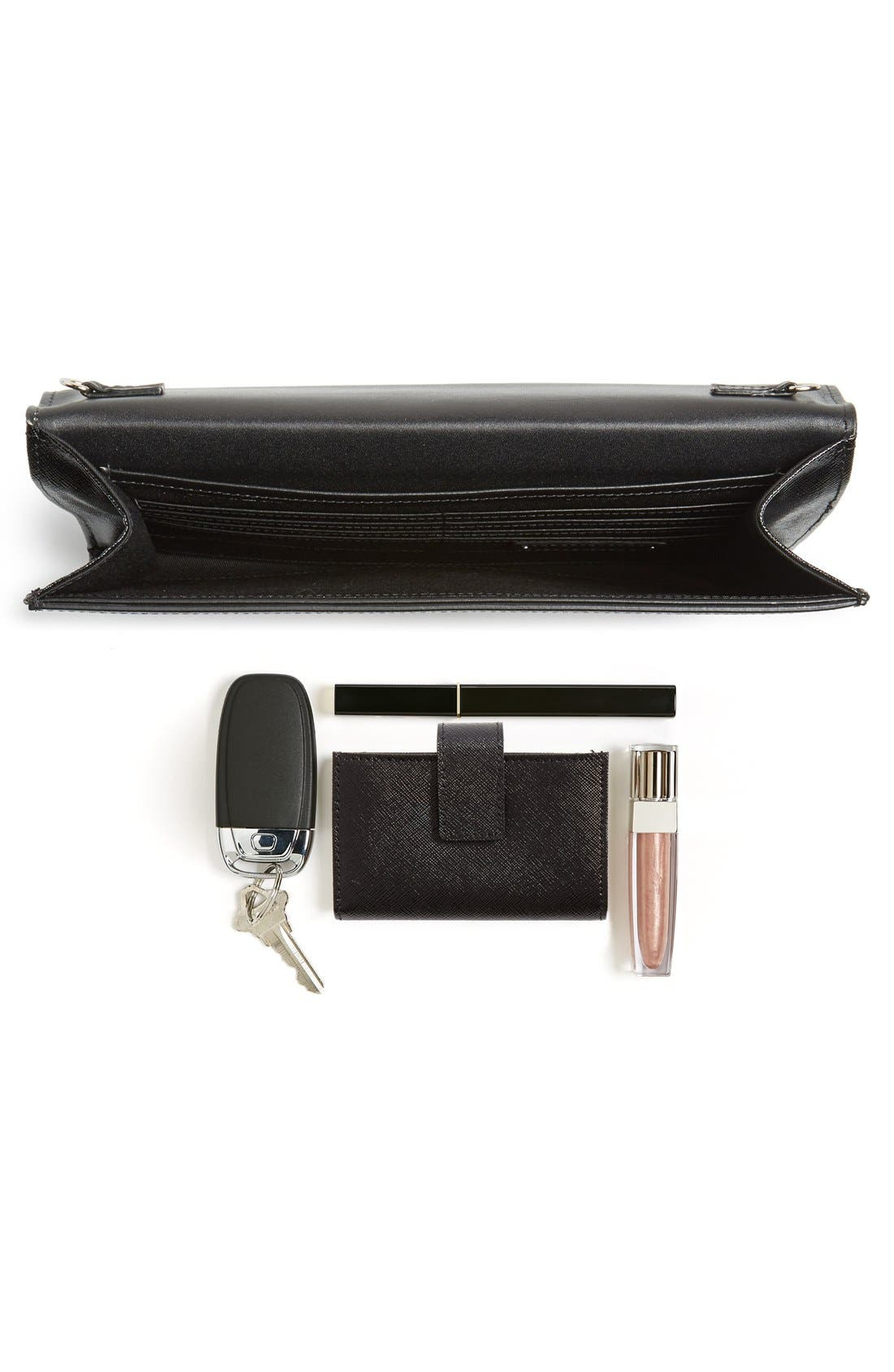 Angled Leather Day Clutch,                             Alternate thumbnail 4, color,                             001
