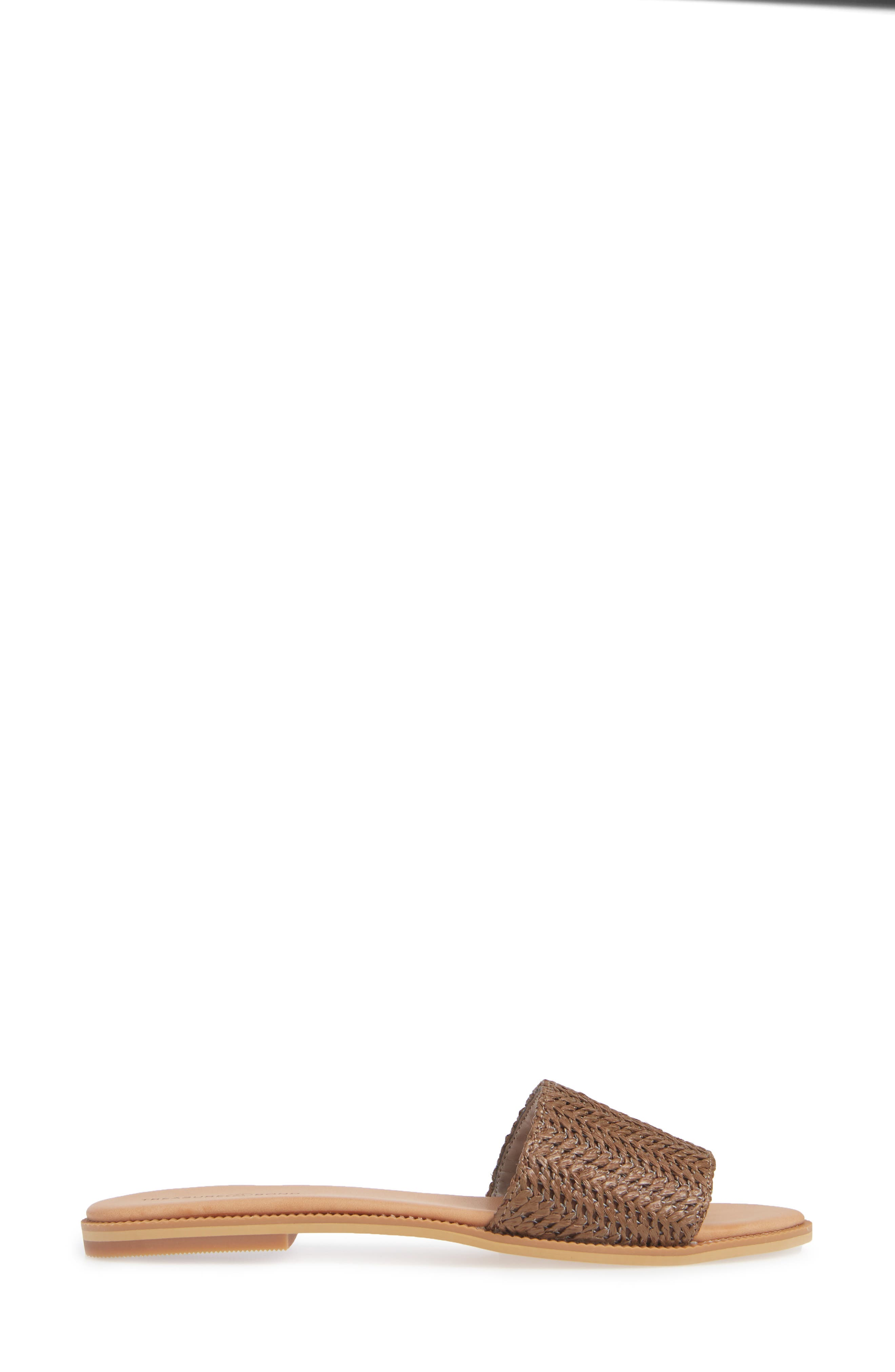 Mere Flat Slide Sandal,                             Alternate thumbnail 3, color,                             BROWN FAUX RAFFIA