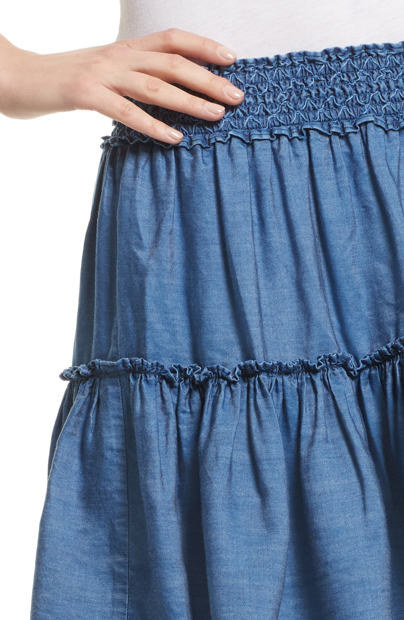 smocked waist chambray skirt,                             Alternate thumbnail 4, color,                             434