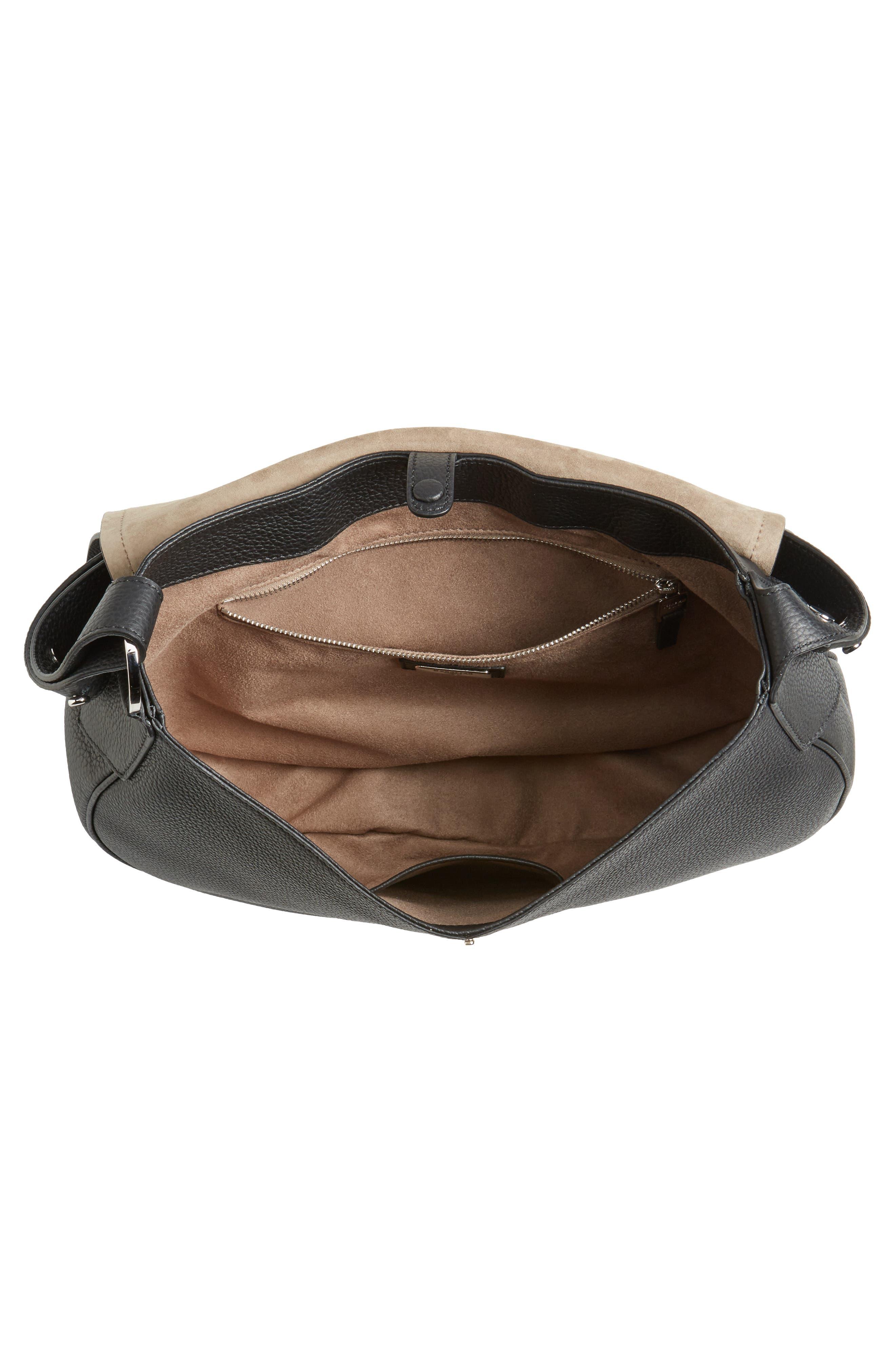 Valeria Cachemire Leather Saddle Bag,                             Alternate thumbnail 4, color,                             001