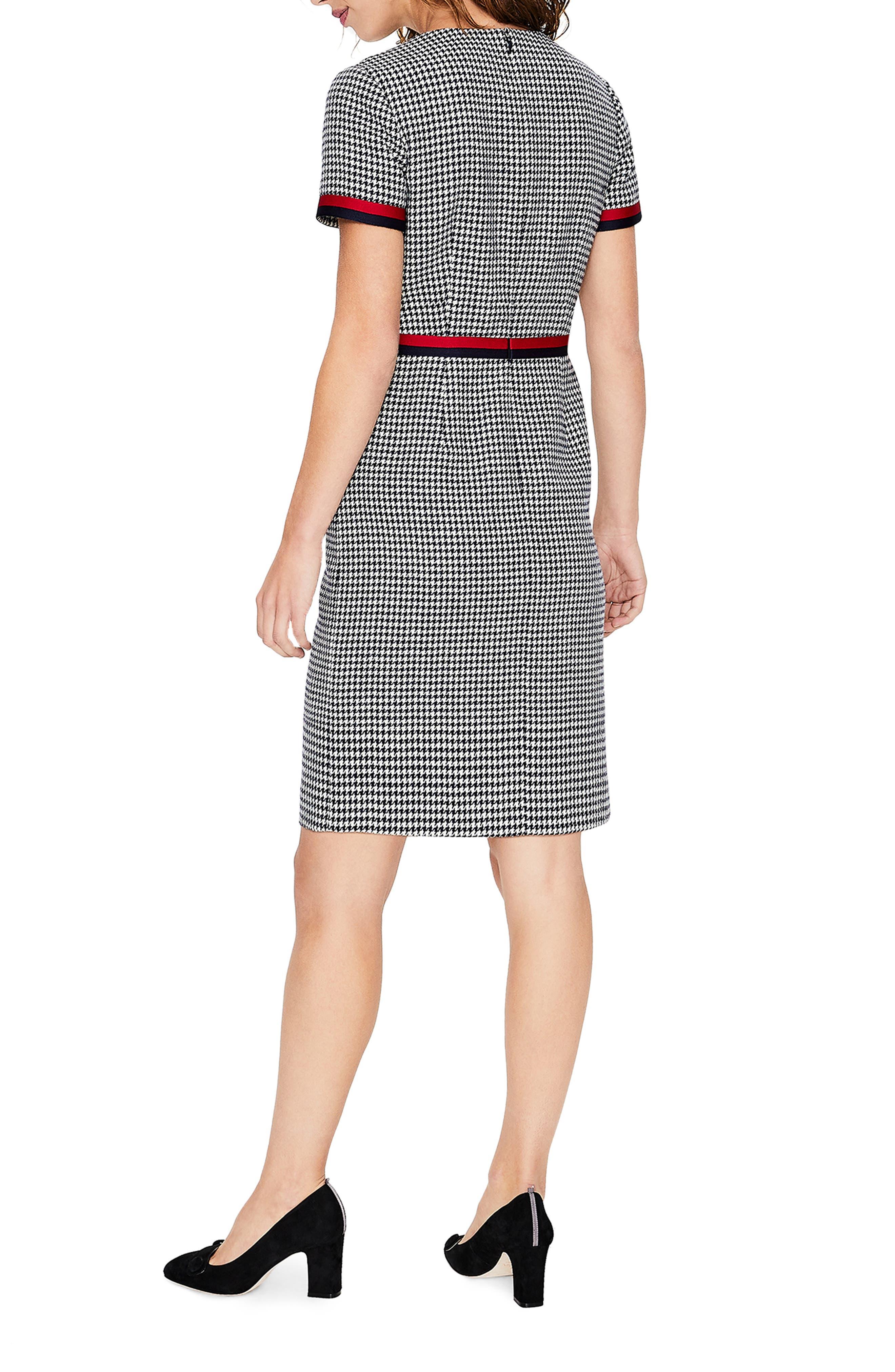 Ribbon Trim Wool Tweed Dress,                             Alternate thumbnail 2, color,                             400