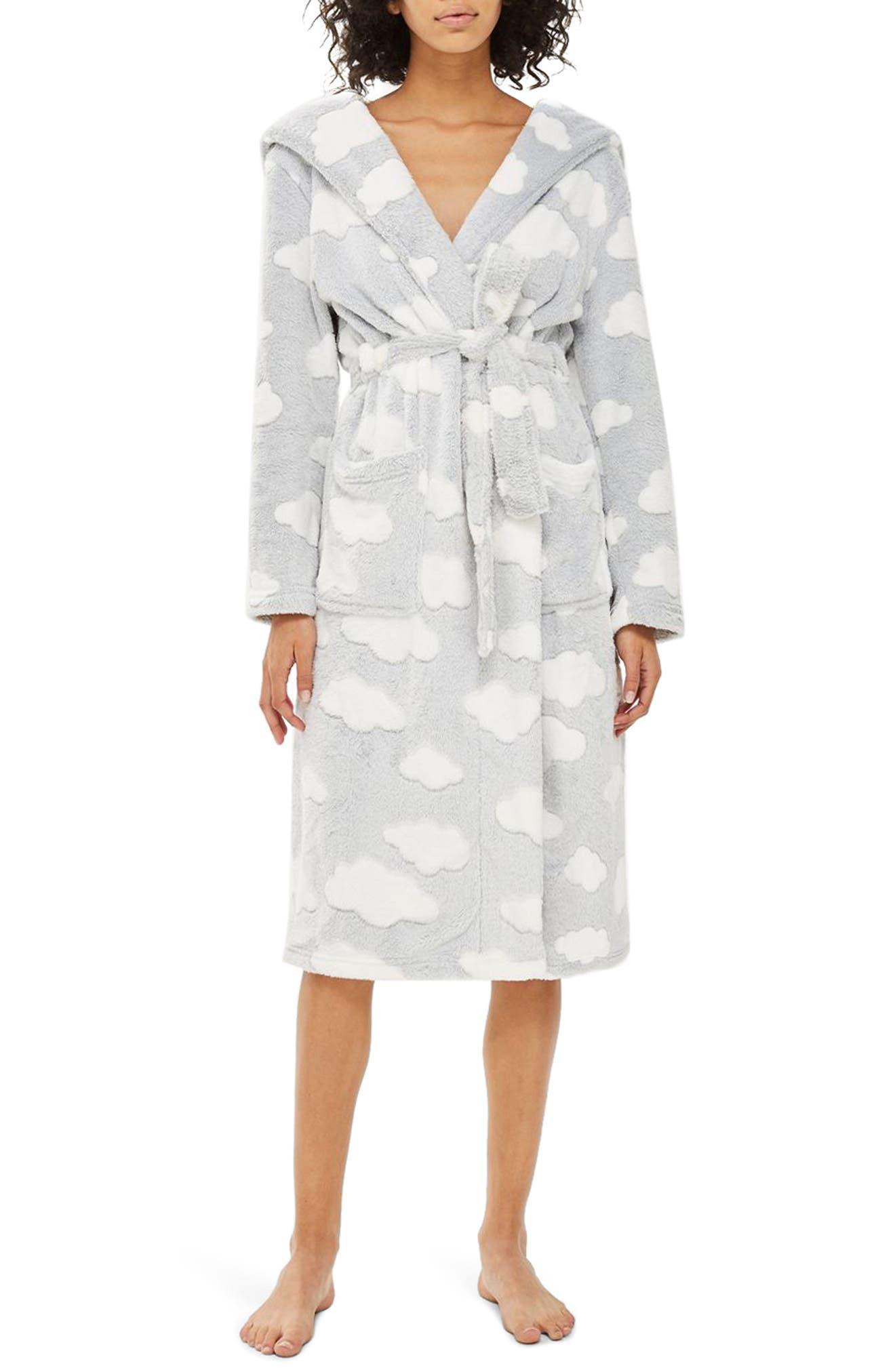 Cloud Print Longline Fleece Robe,                             Main thumbnail 1, color,                             020