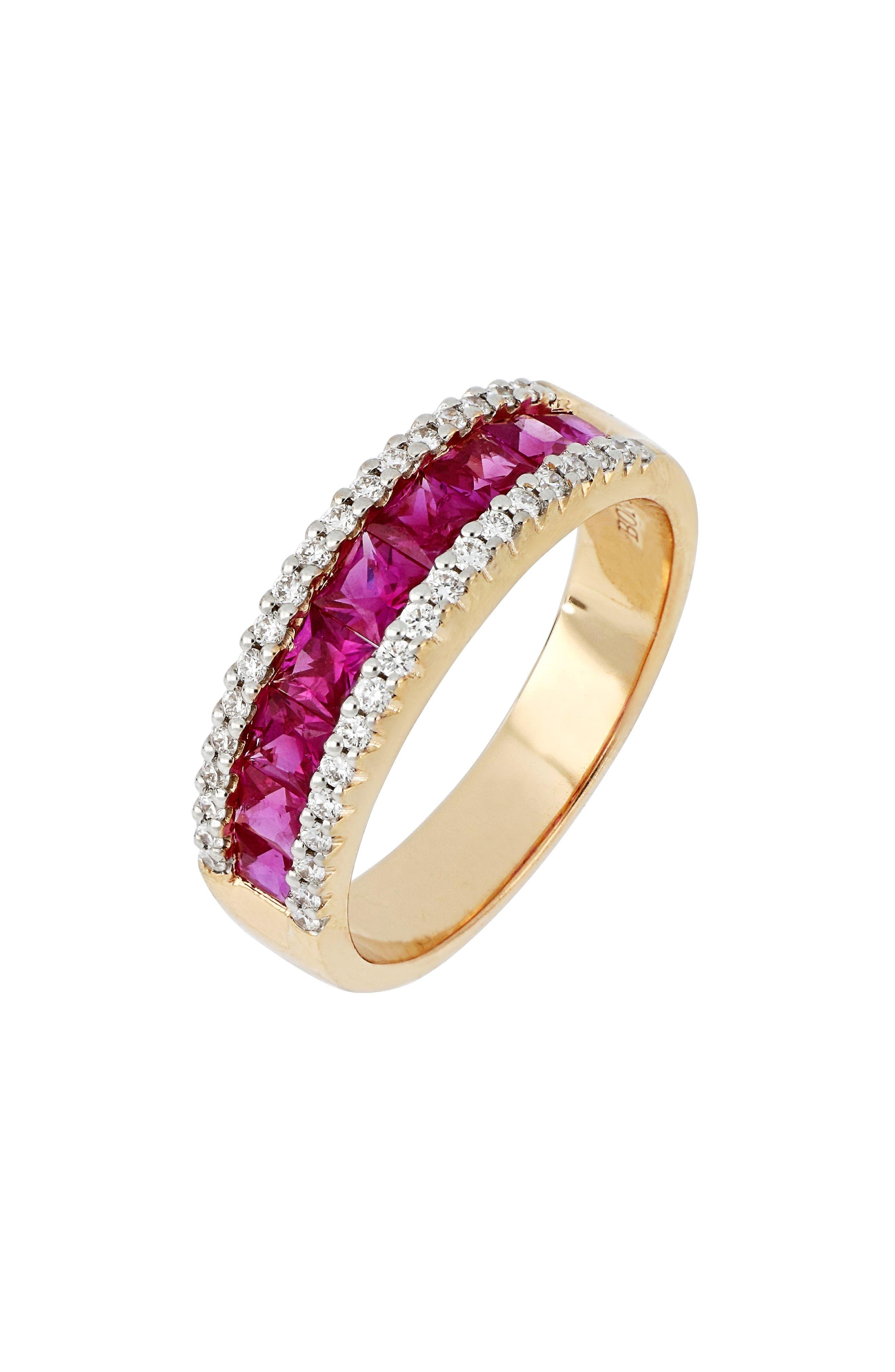Diamond & Ruby Band Ring,                             Main thumbnail 1, color,                             ROSE GOLD/ RUBY