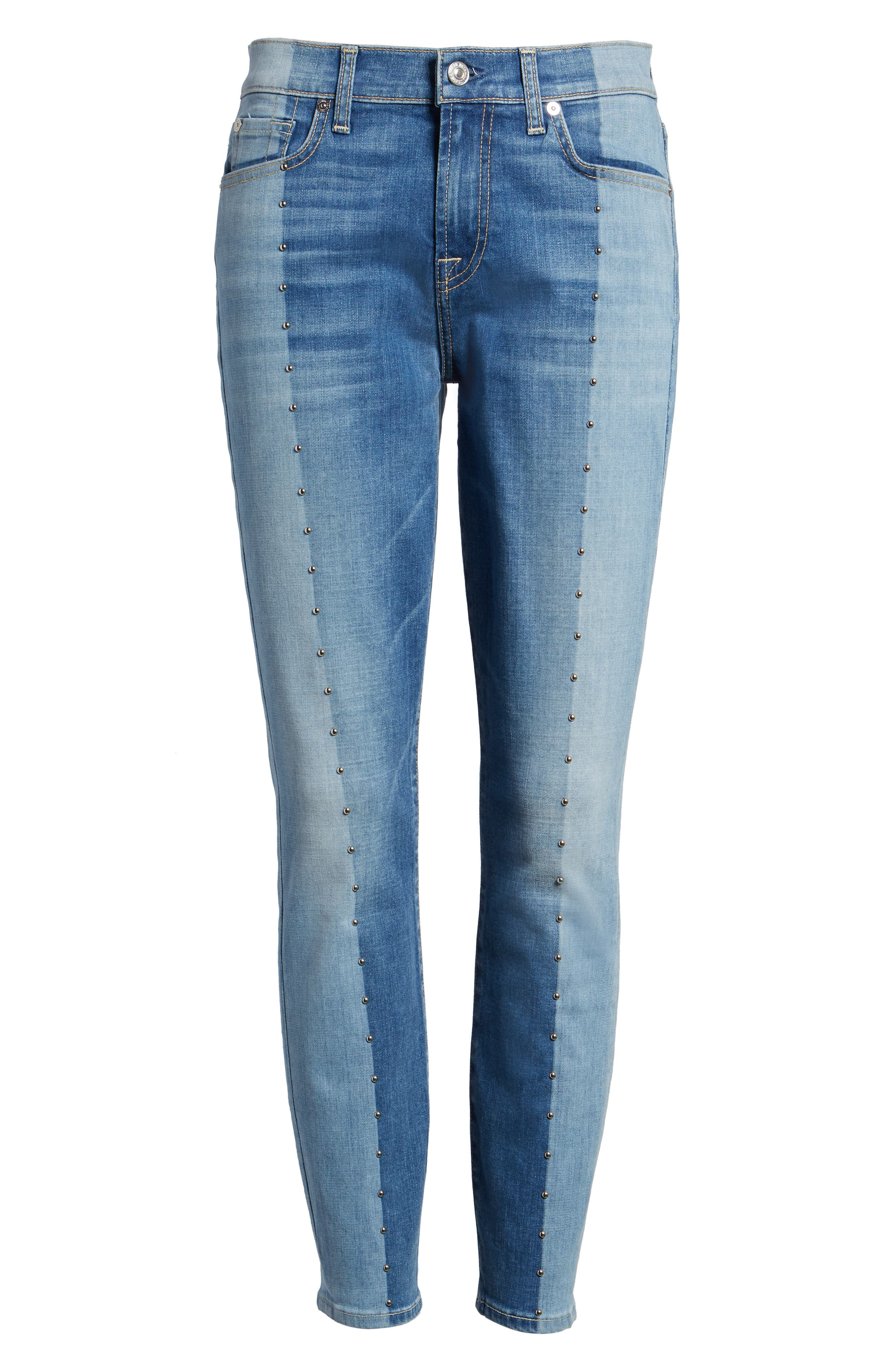 Shadow Seamed Ankle Skinny Jeans,                             Alternate thumbnail 6, color,                             400