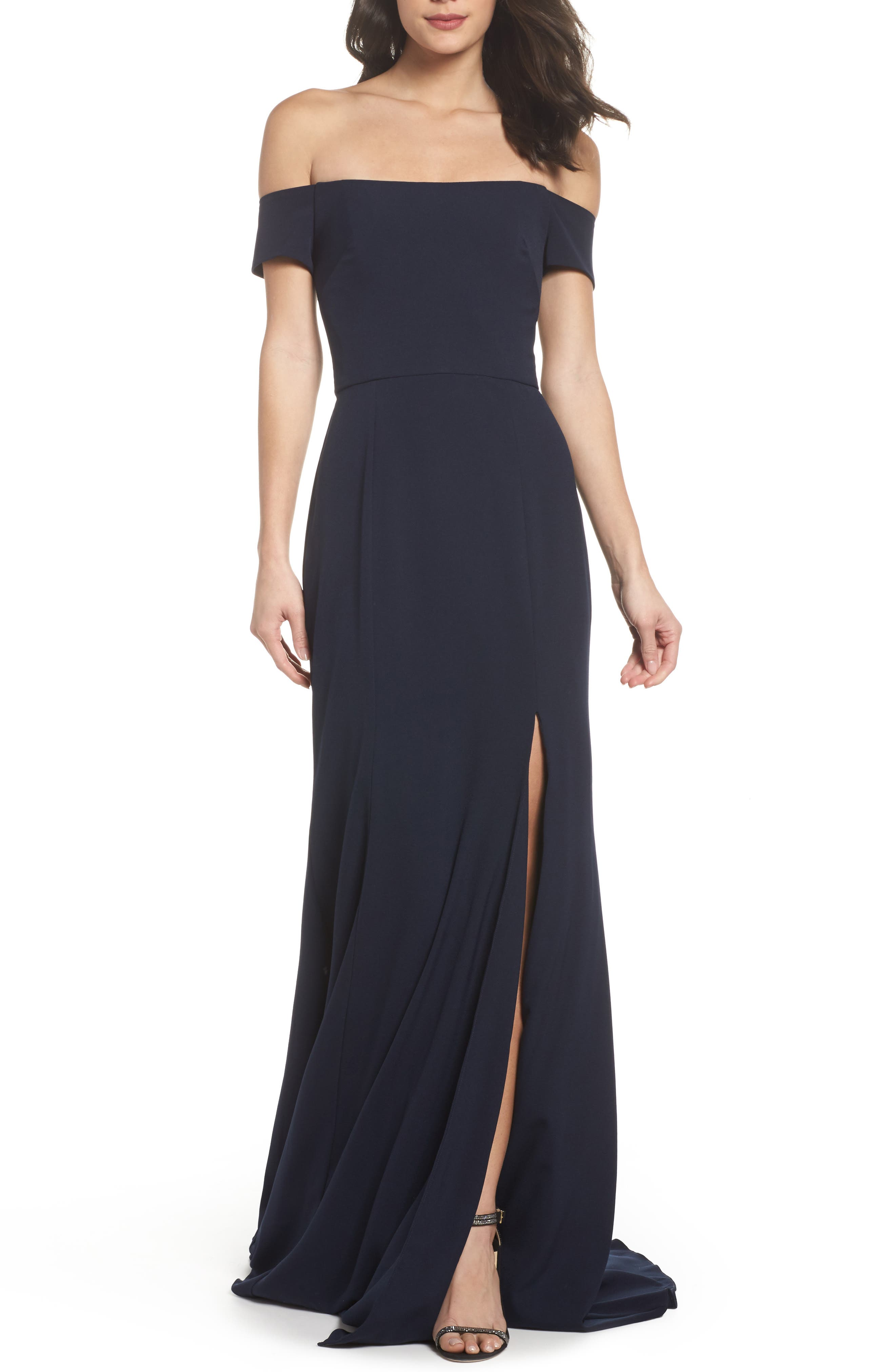 Off the Shoulder Crepe Gown,                         Main,                         color, 410