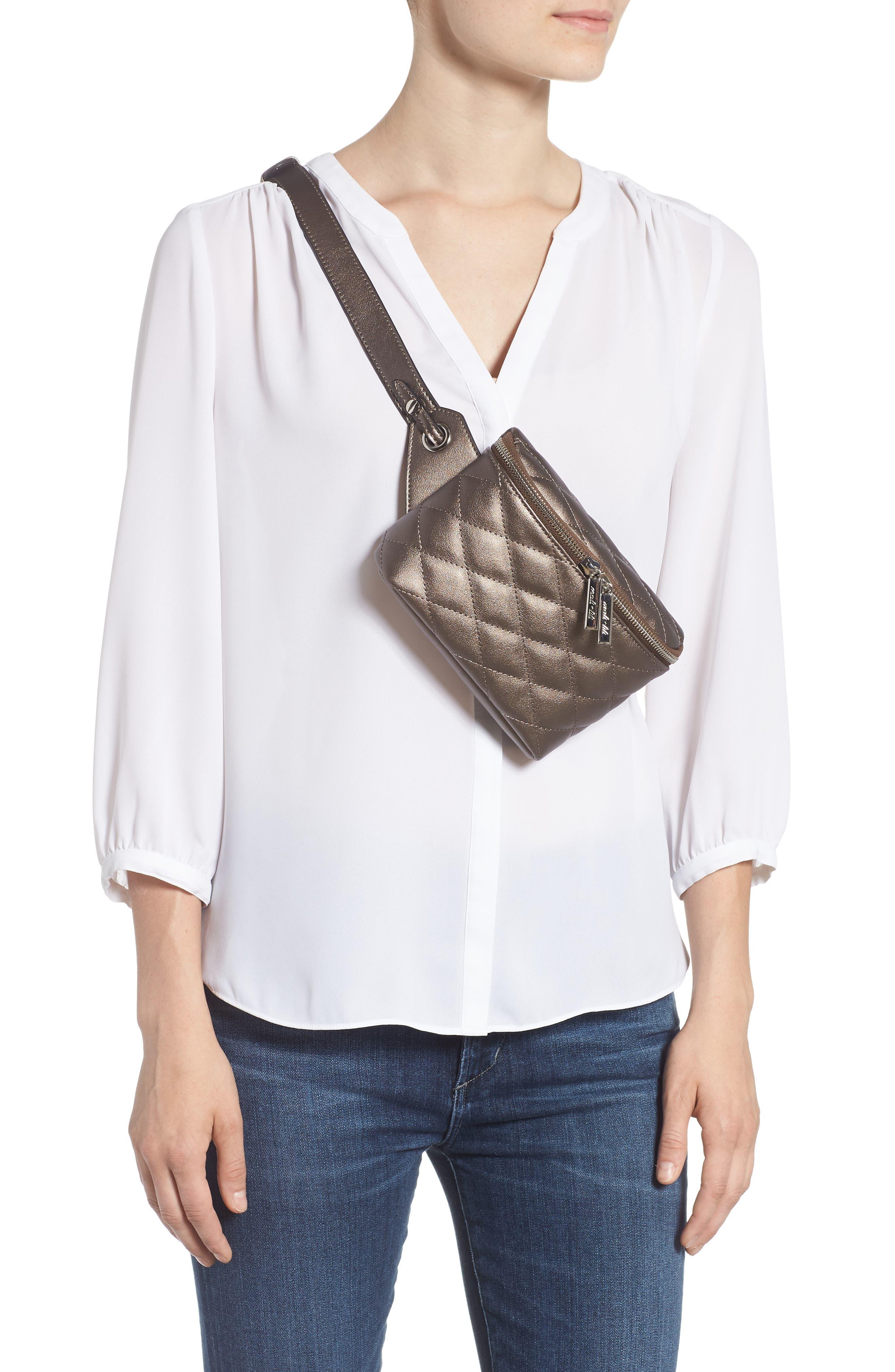 MALI + LILI,                             Faye Vegan Leather Quilted Belt Bag,                             Alternate thumbnail 3, color,                             PEWTER