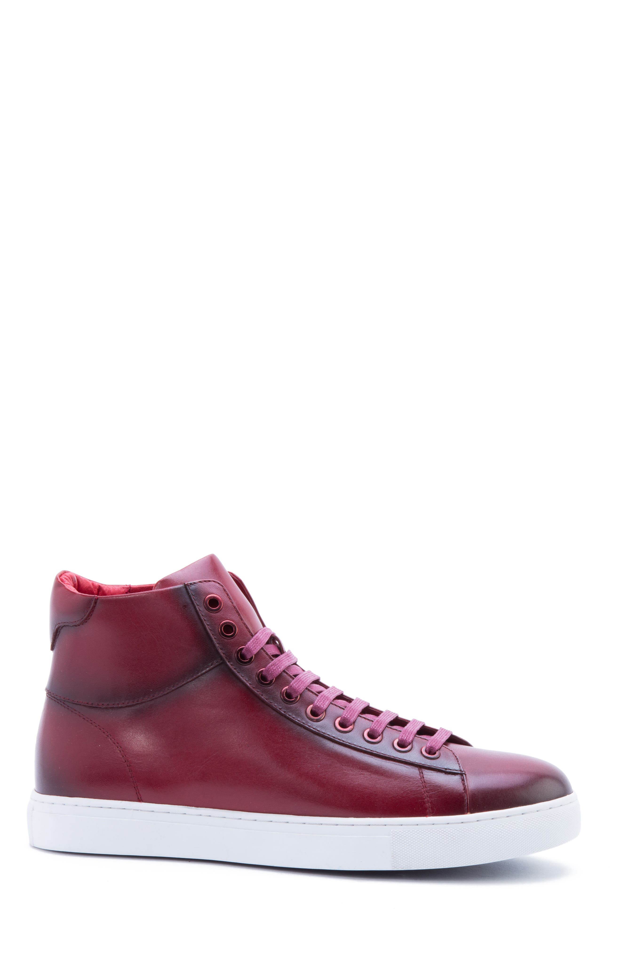 Spinback High Top Sneaker,                             Alternate thumbnail 3, color,                             RED LEATHER