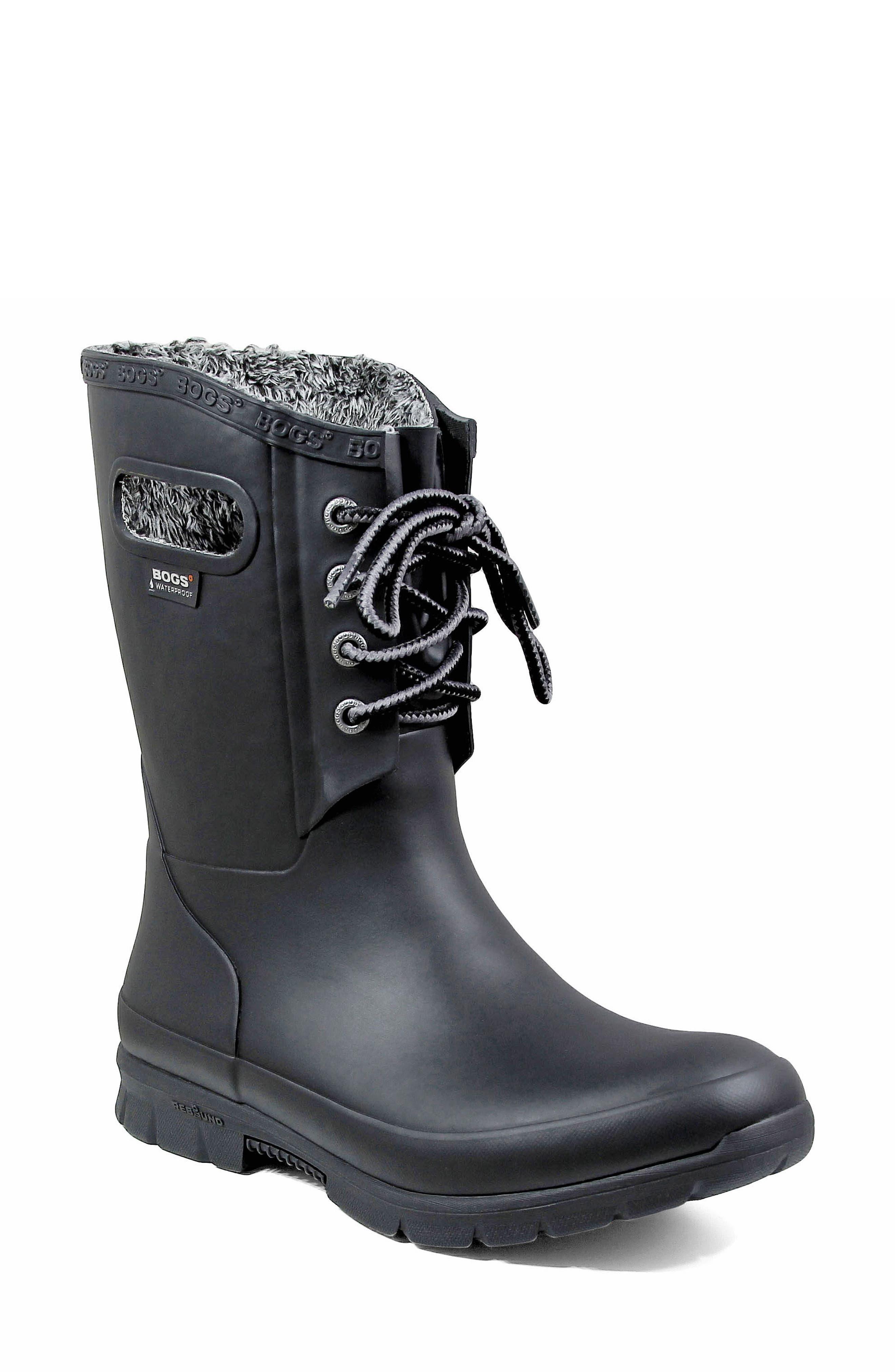 Amanda Plush Waterproof Rain Boot,                             Main thumbnail 1, color,                             BLACK