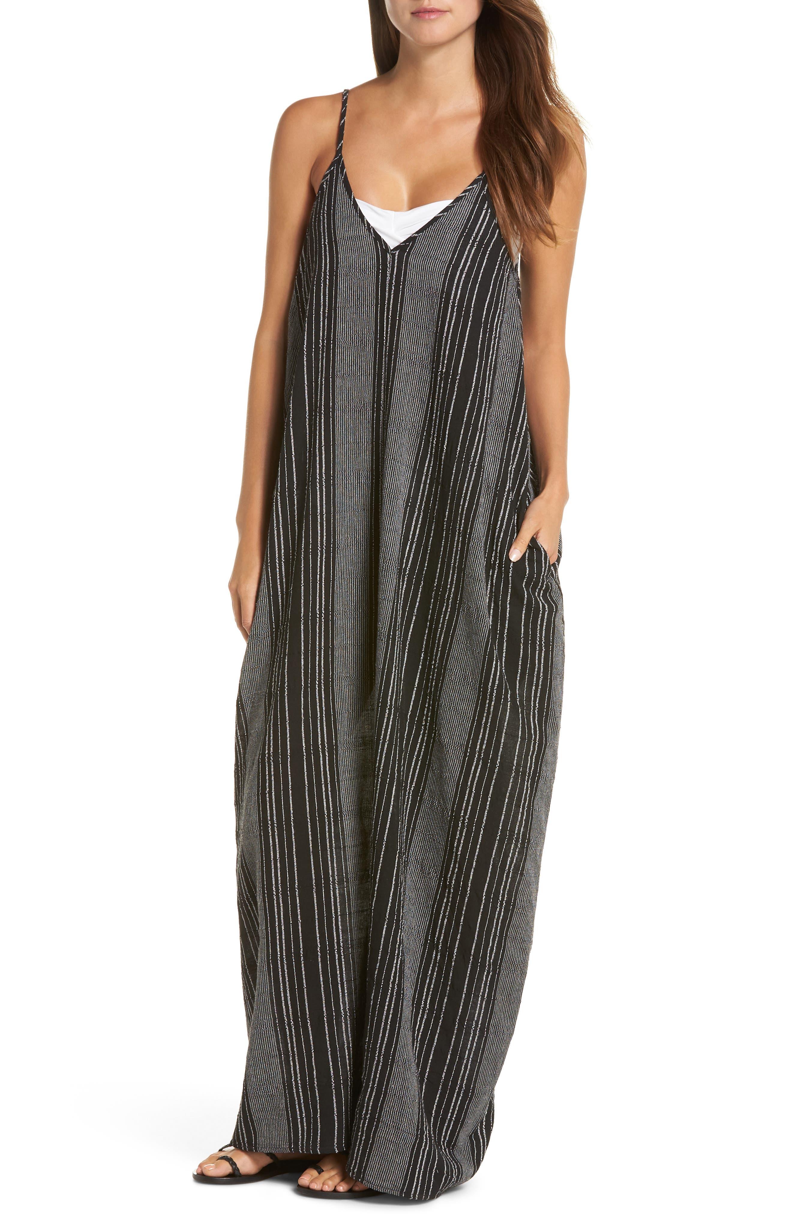 Elan Cover-Up Maxi Dress, Black