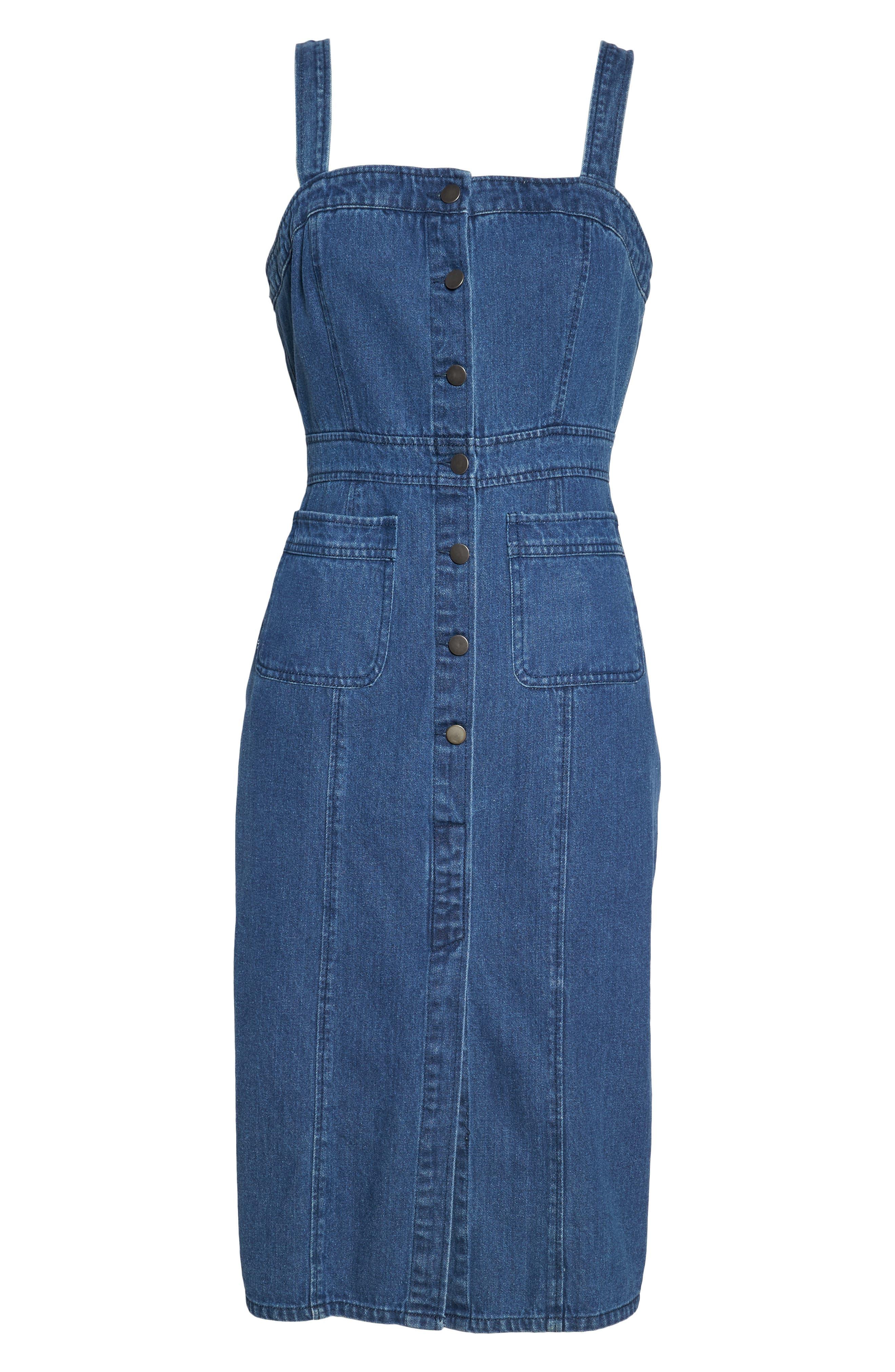 Button Front Denim Dress,                             Alternate thumbnail 6, color,                             401