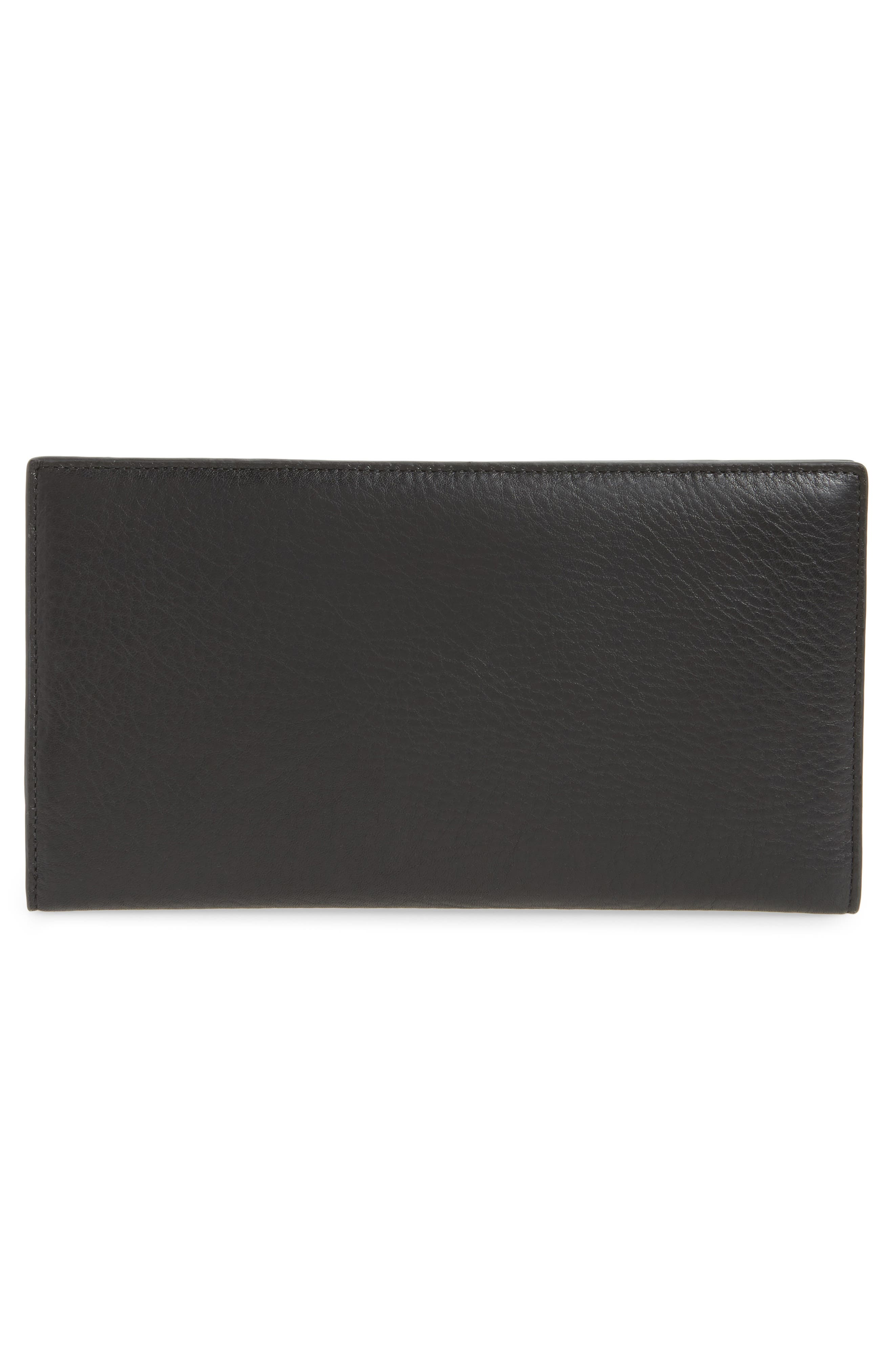 Dolle Leather Travel Wallet,                             Alternate thumbnail 3, color,                             001