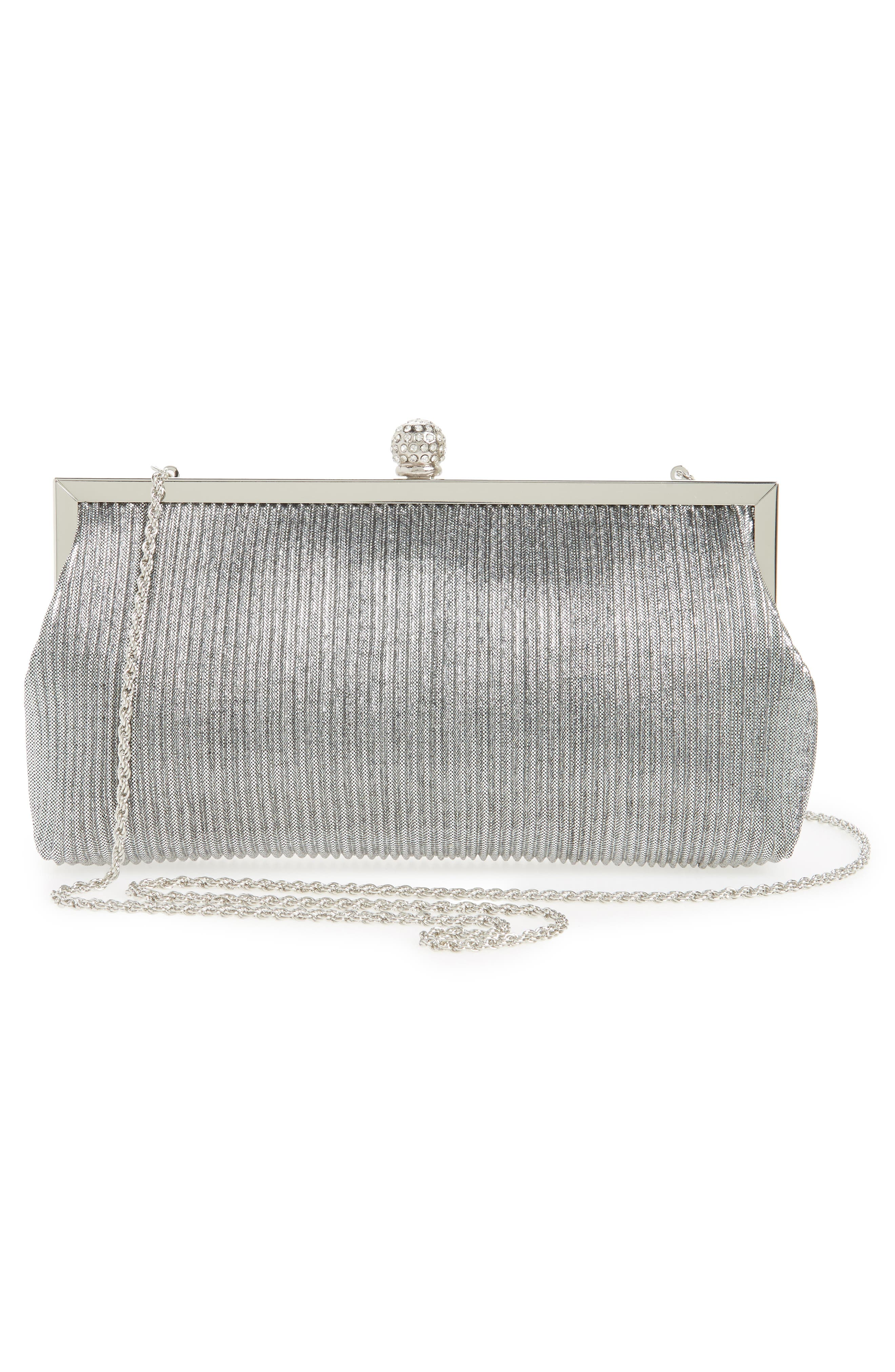 Aneka Pleated Shine Clutch,                             Alternate thumbnail 3, color,                             STEEL