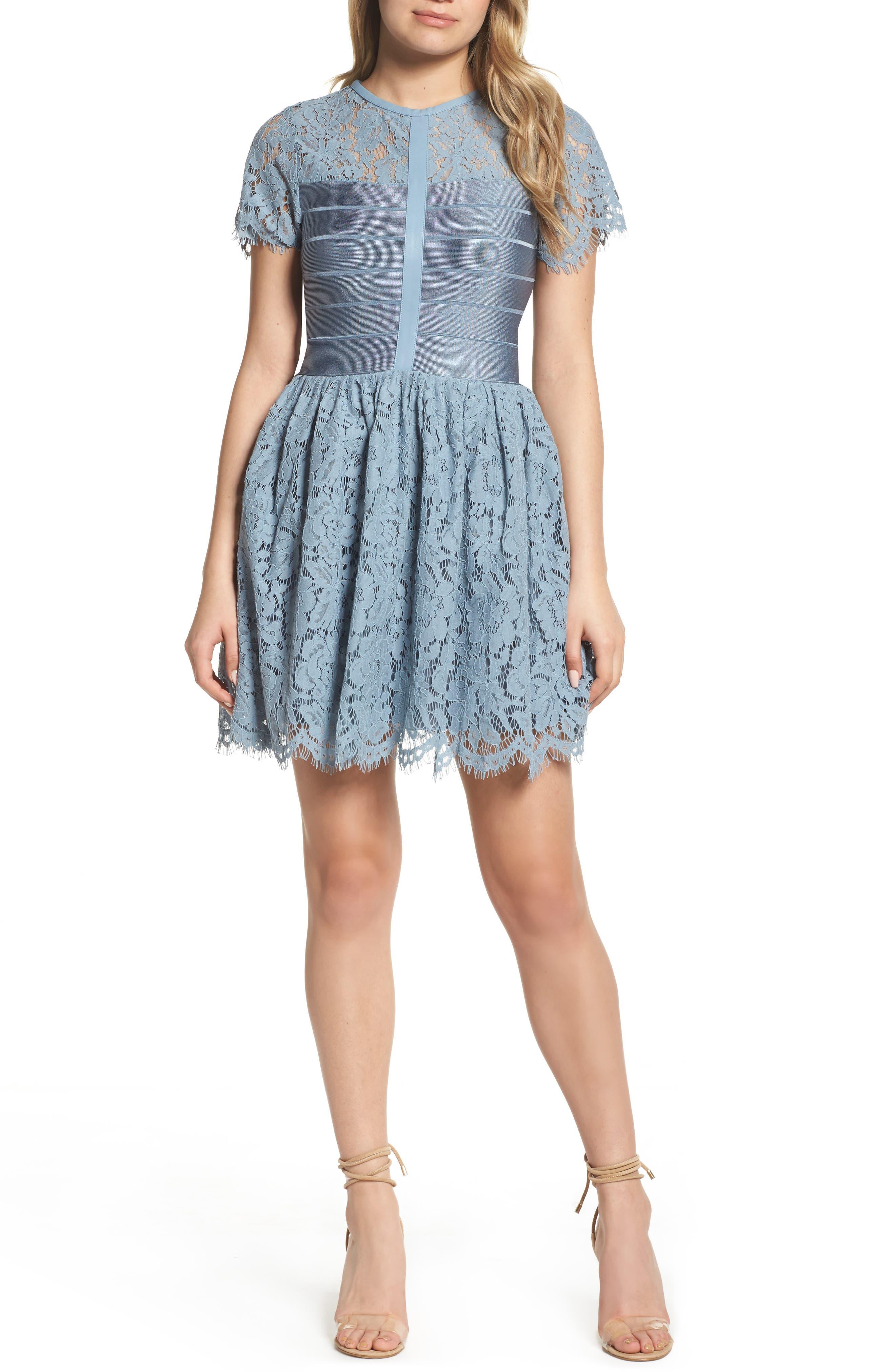 French Connection Shana Spotlight Lace Dress, Blue