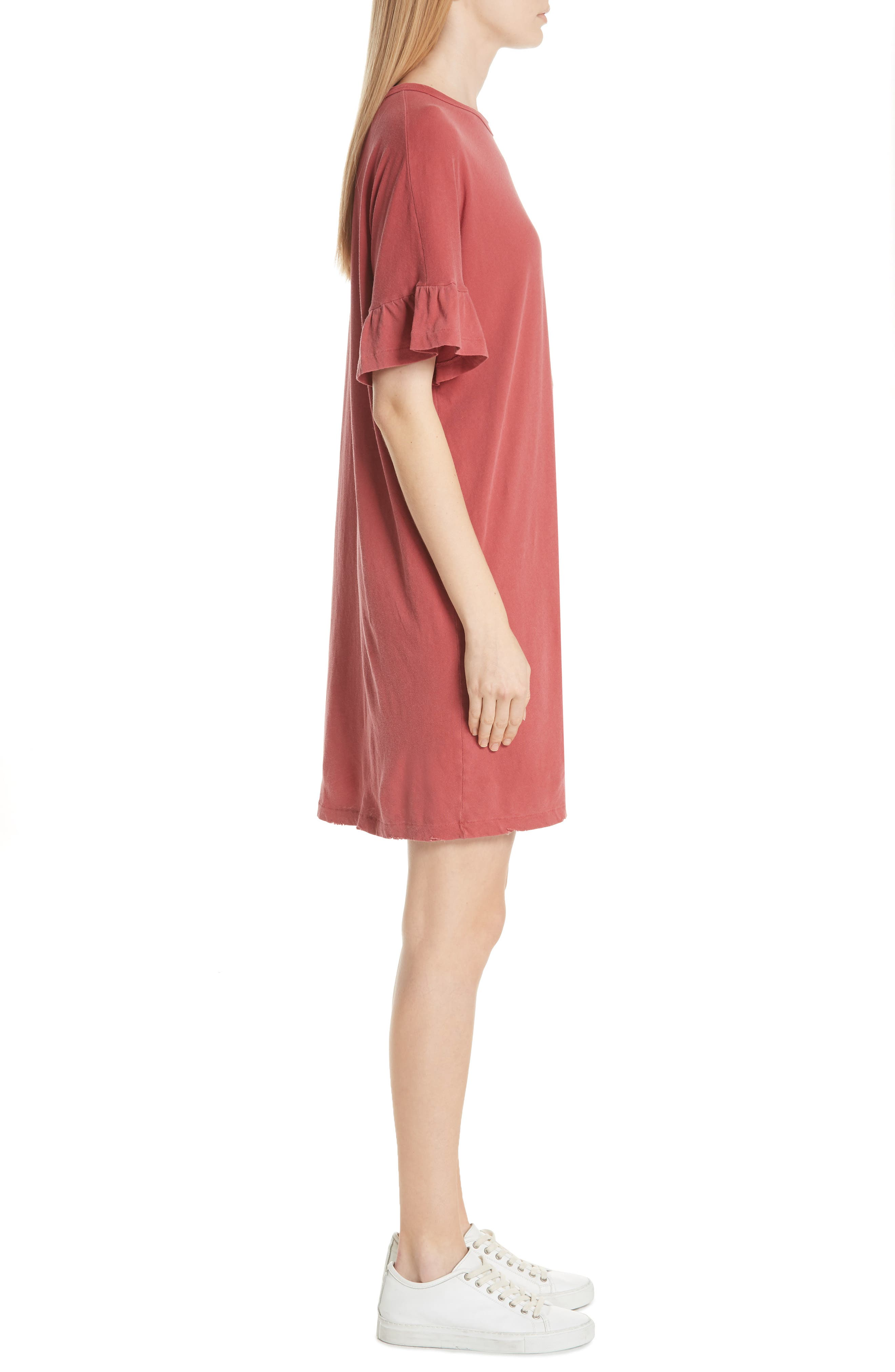 Ruffle Sleeve T-Shirt Dress,                             Alternate thumbnail 3, color,
