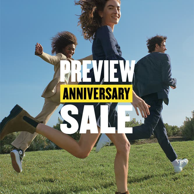 Preview Anniversary Sale: two women and a man running across a field in fall clothing, boots and sneakers.