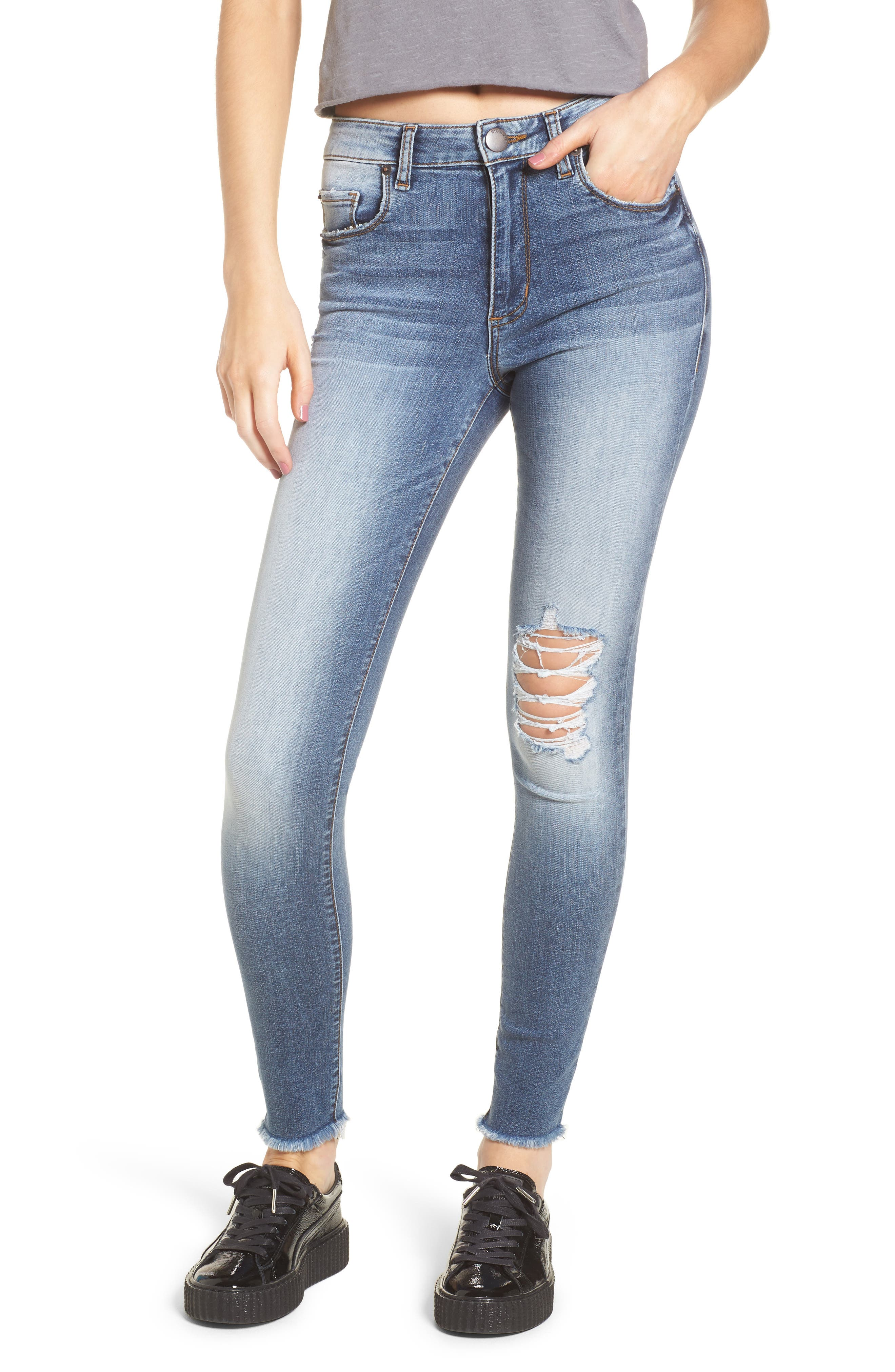 Emma Distressed Skinny Jeans,                             Main thumbnail 1, color,                             400