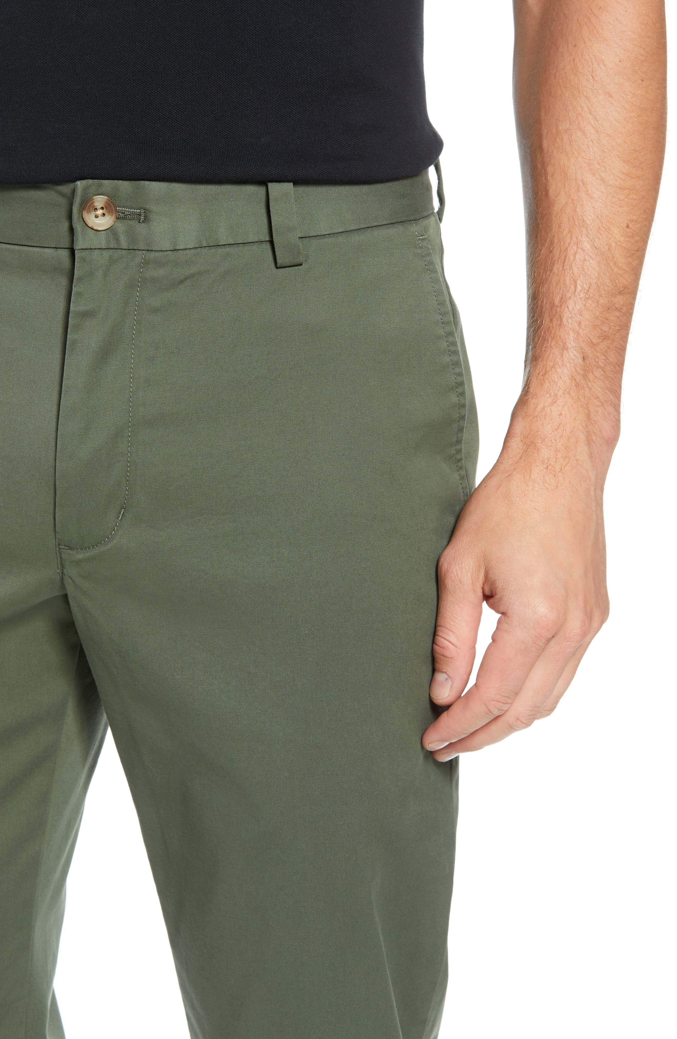 Breaker Flat Front Stretch Cotton Pants,                             Alternate thumbnail 4, color,                             CARGO GREEN