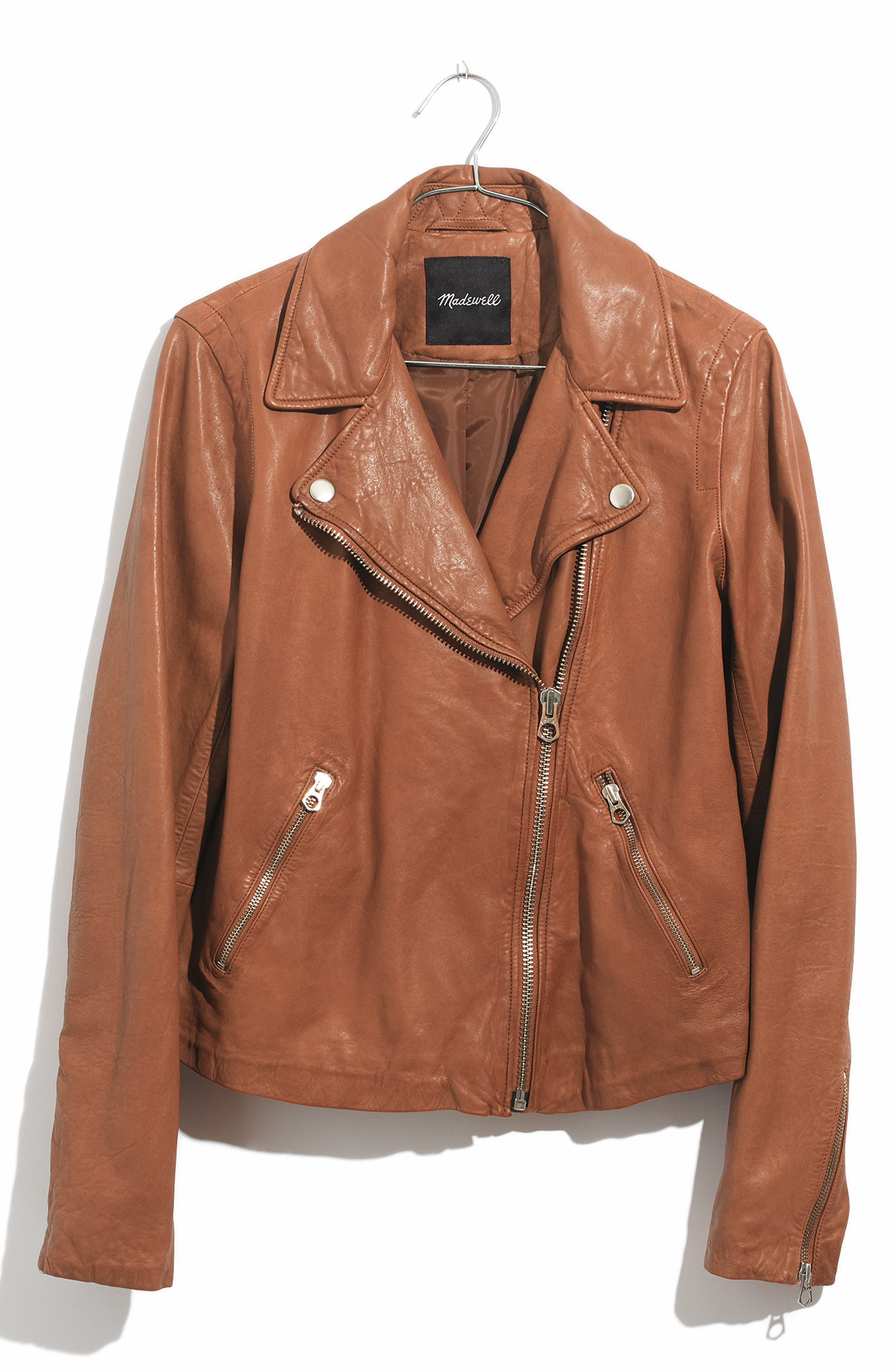 Washed Leather Moto Jacket,                             Main thumbnail 1, color,                             BURNT SIENNA