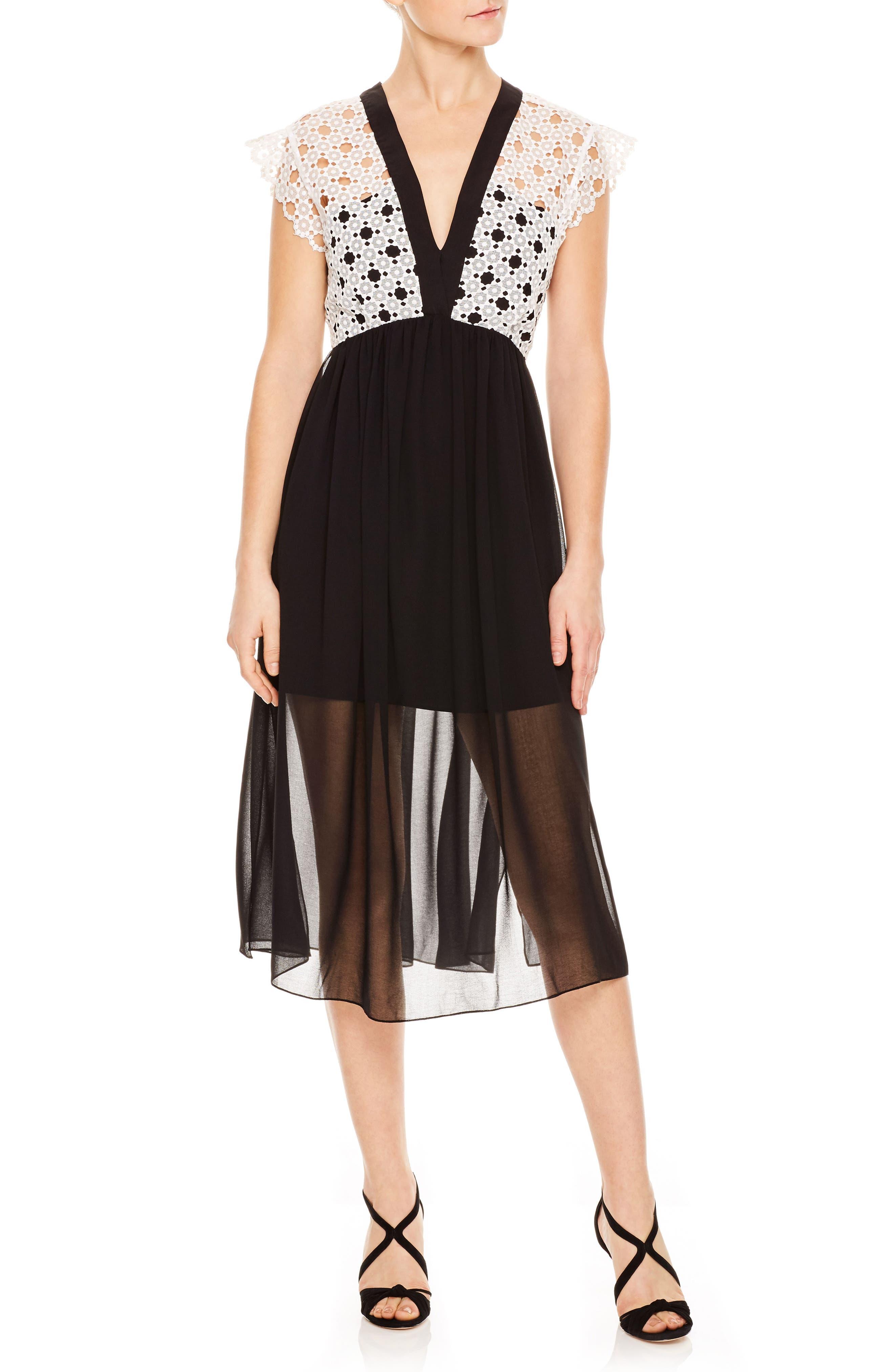 Lace & Chiffon Midi Dress,                             Main thumbnail 1, color,                             001