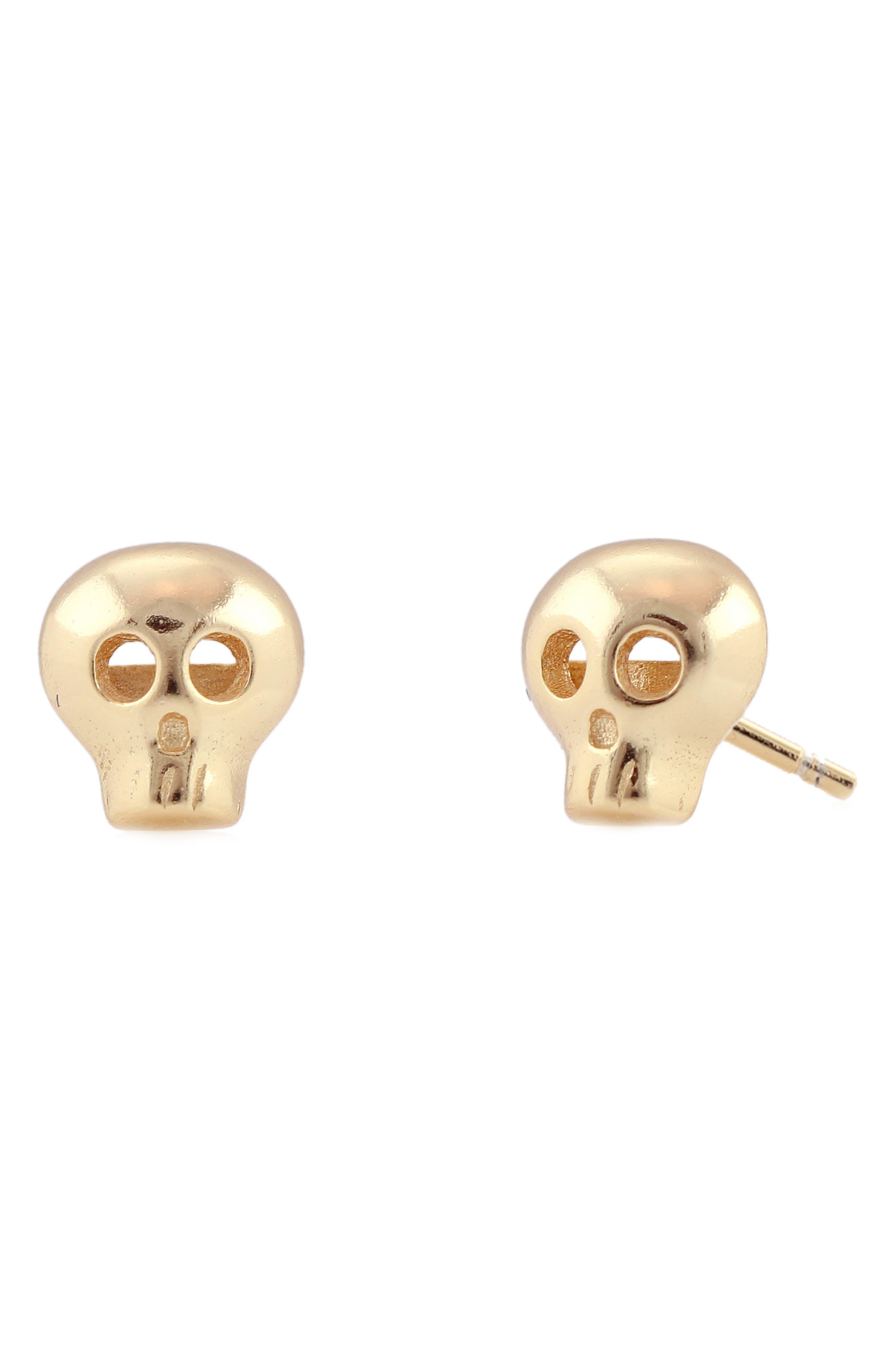 Skull Stud Earrings,                         Main,                         color, GOLD