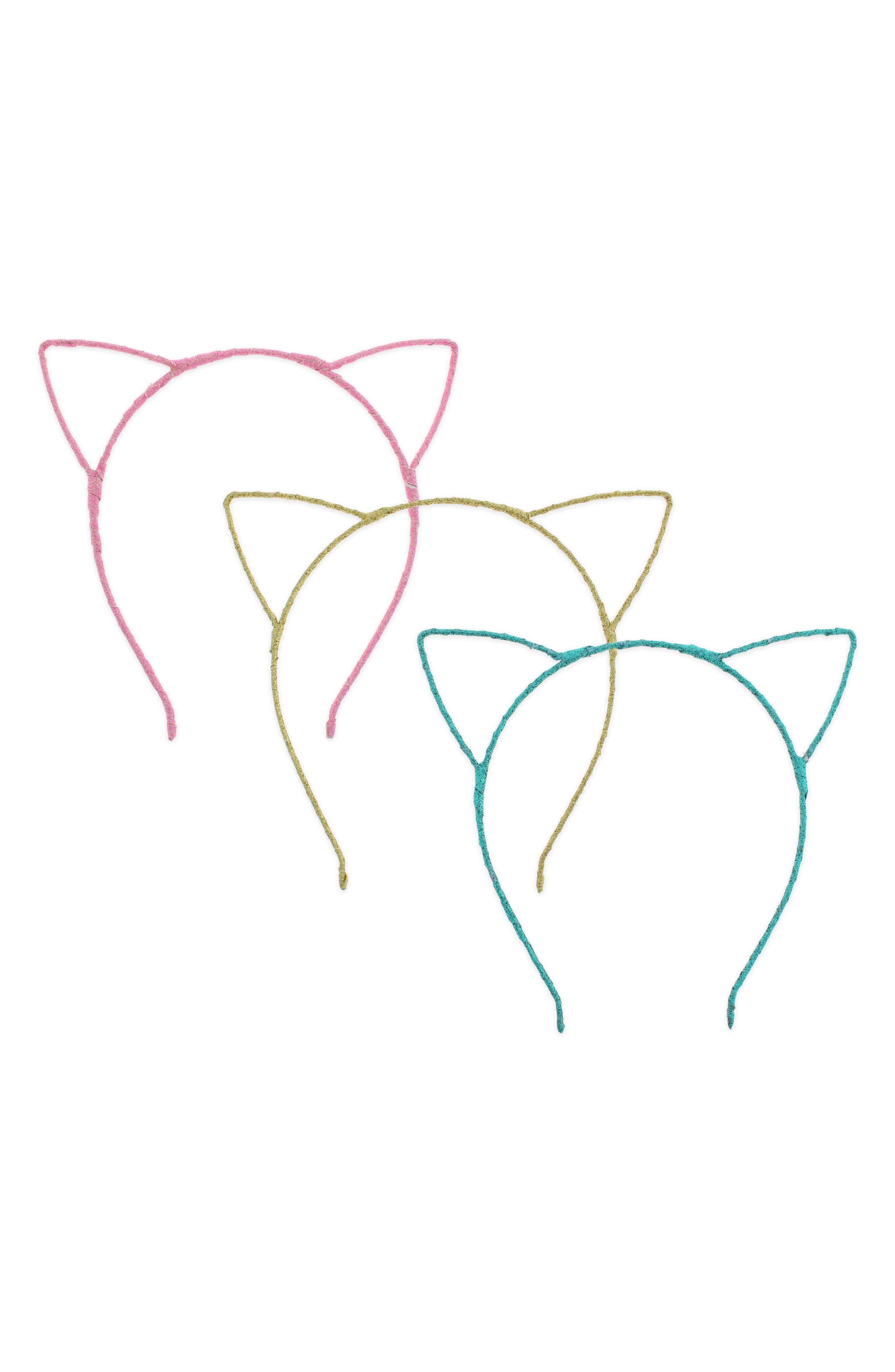 Glitter Cat 3-Pack Headband Set,                             Main thumbnail 1, color,                             651