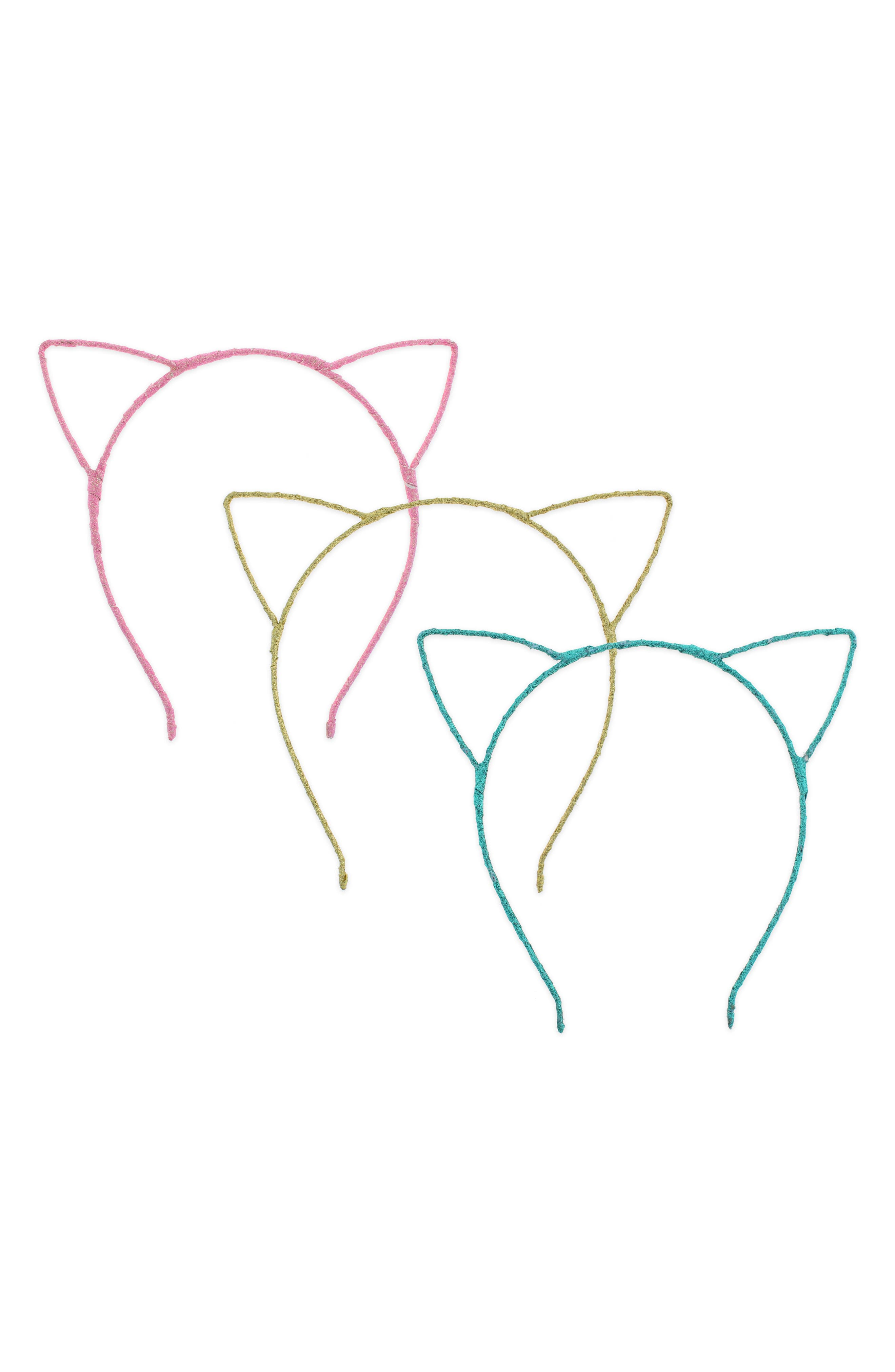 Glitter Cat 3-Pack Headband Set,                         Main,                         color, 651