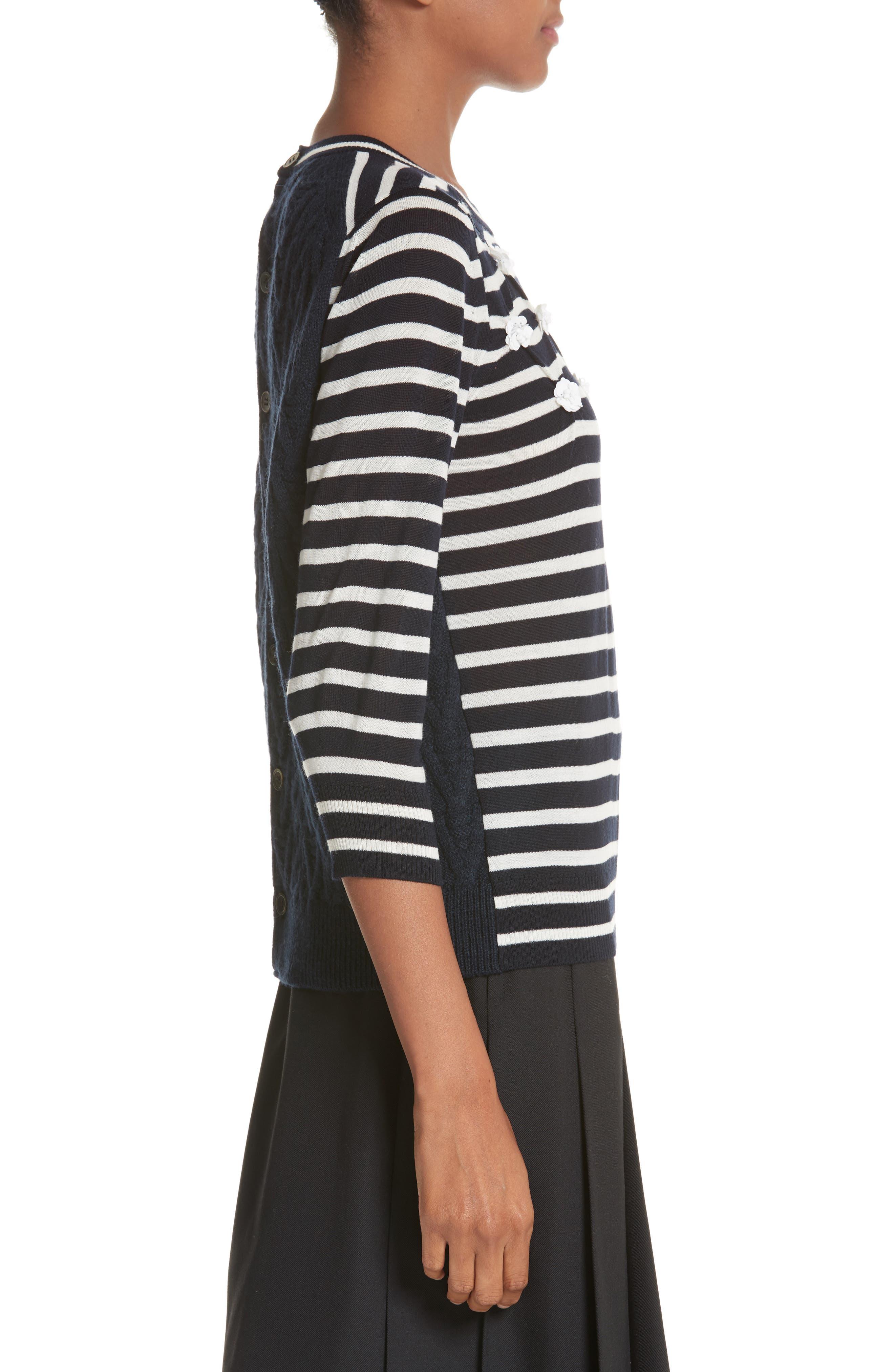 Button Back Stripe Sweater,                             Alternate thumbnail 3, color,                             410
