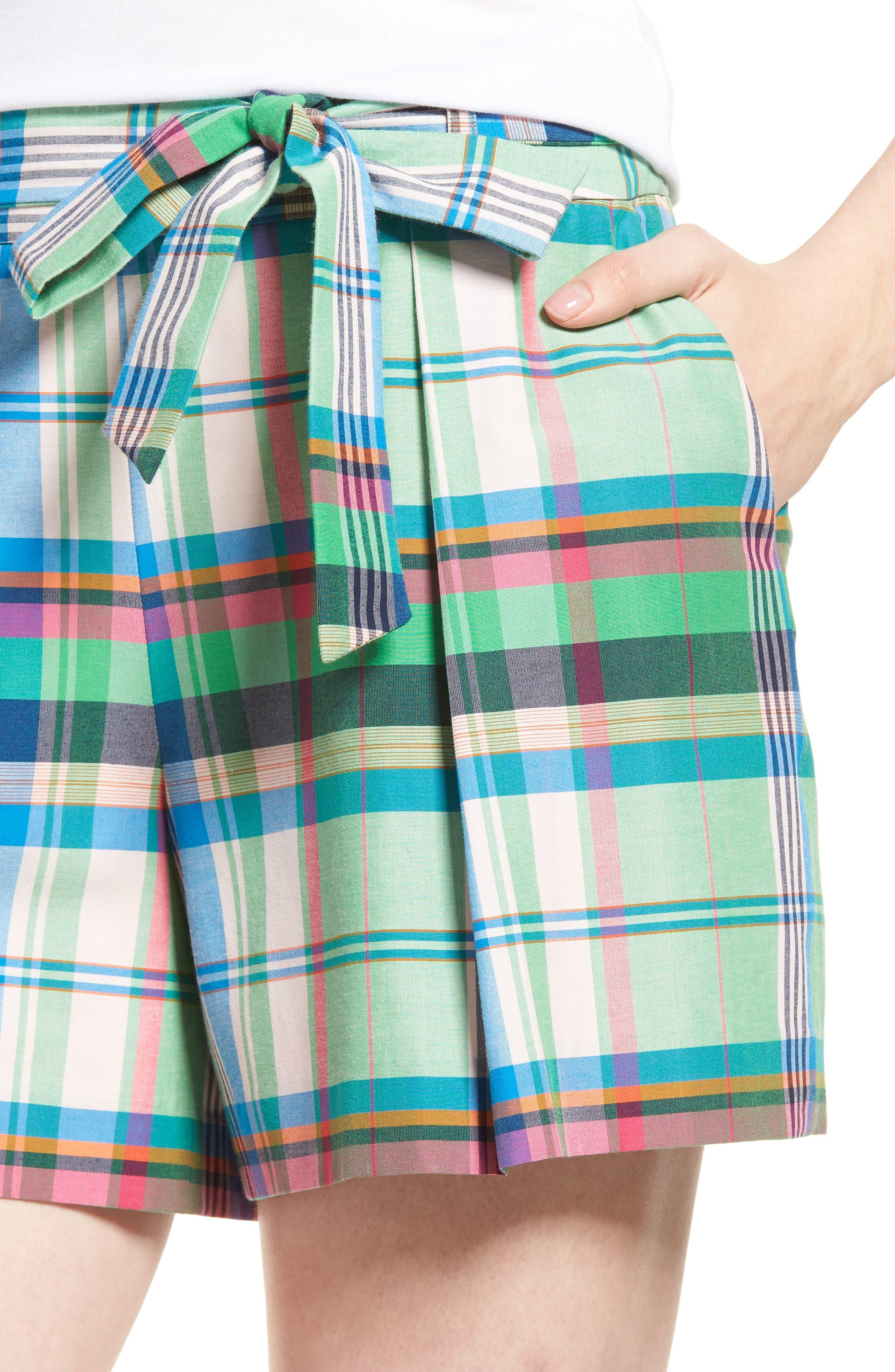 Pleated Plaid Shorts,                             Alternate thumbnail 4, color,                             330