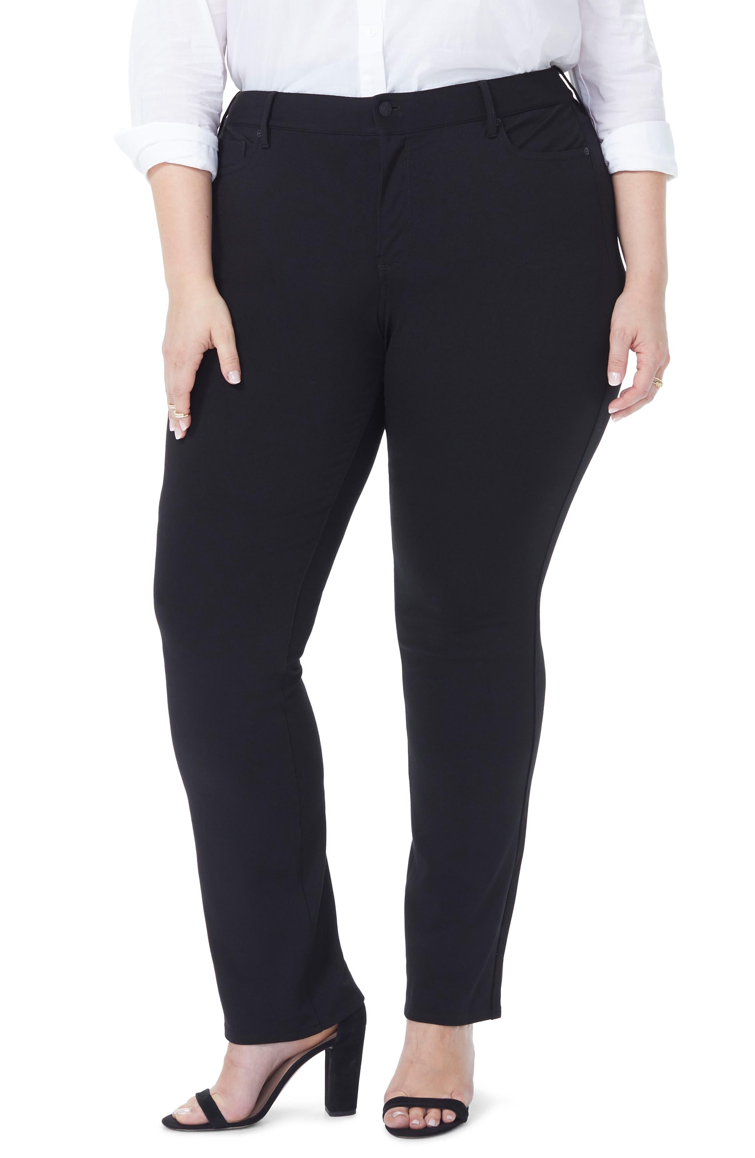 Marilyn Straight Ponte Knit Pants,                             Alternate thumbnail 4, color,                             BLACK
