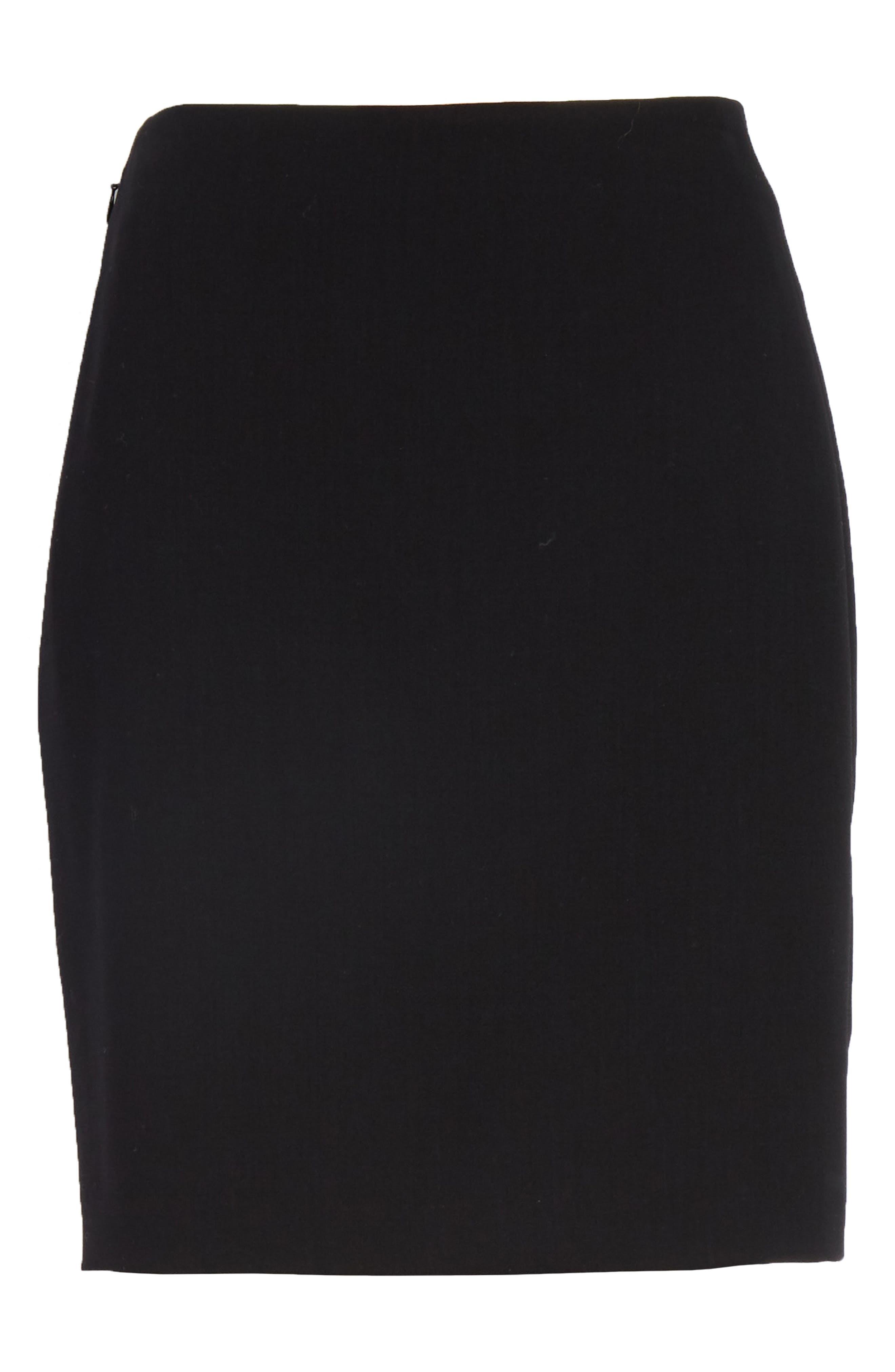 Farrah Stretch Wool Flare Pants,                             Alternate thumbnail 6, color,                             BLACK