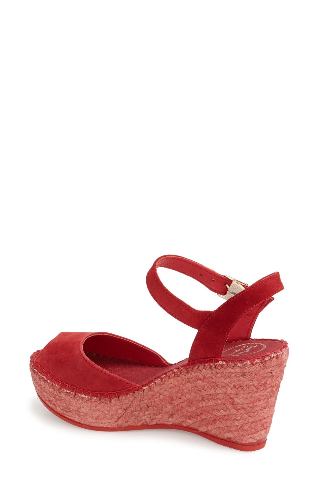 Laura Espadrille Wedge Sandal,                             Alternate thumbnail 2, color,                             RED SUEDE