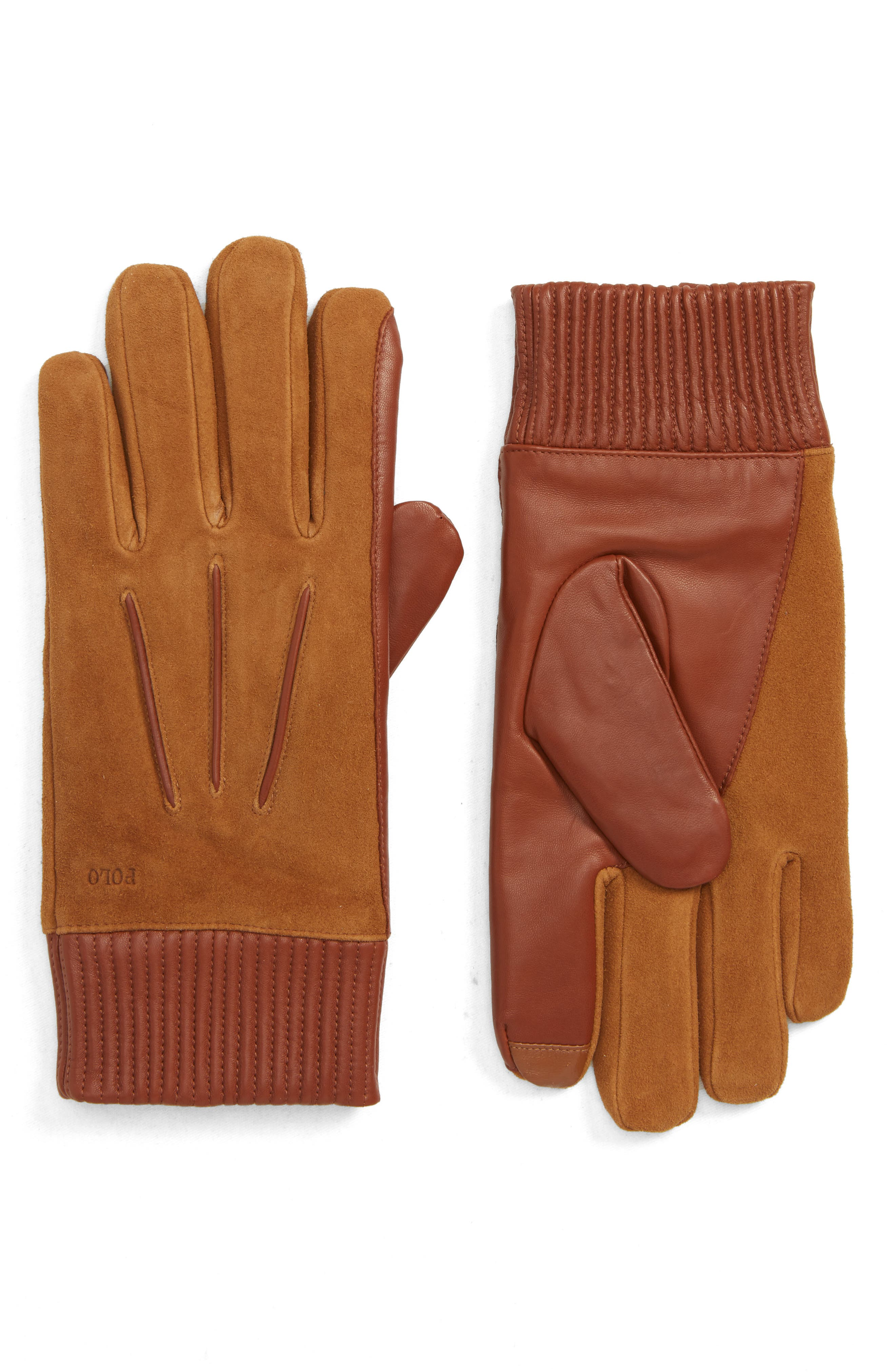 Polo Ralph Lauren Nappa Leather & Suede Gloves, Brown