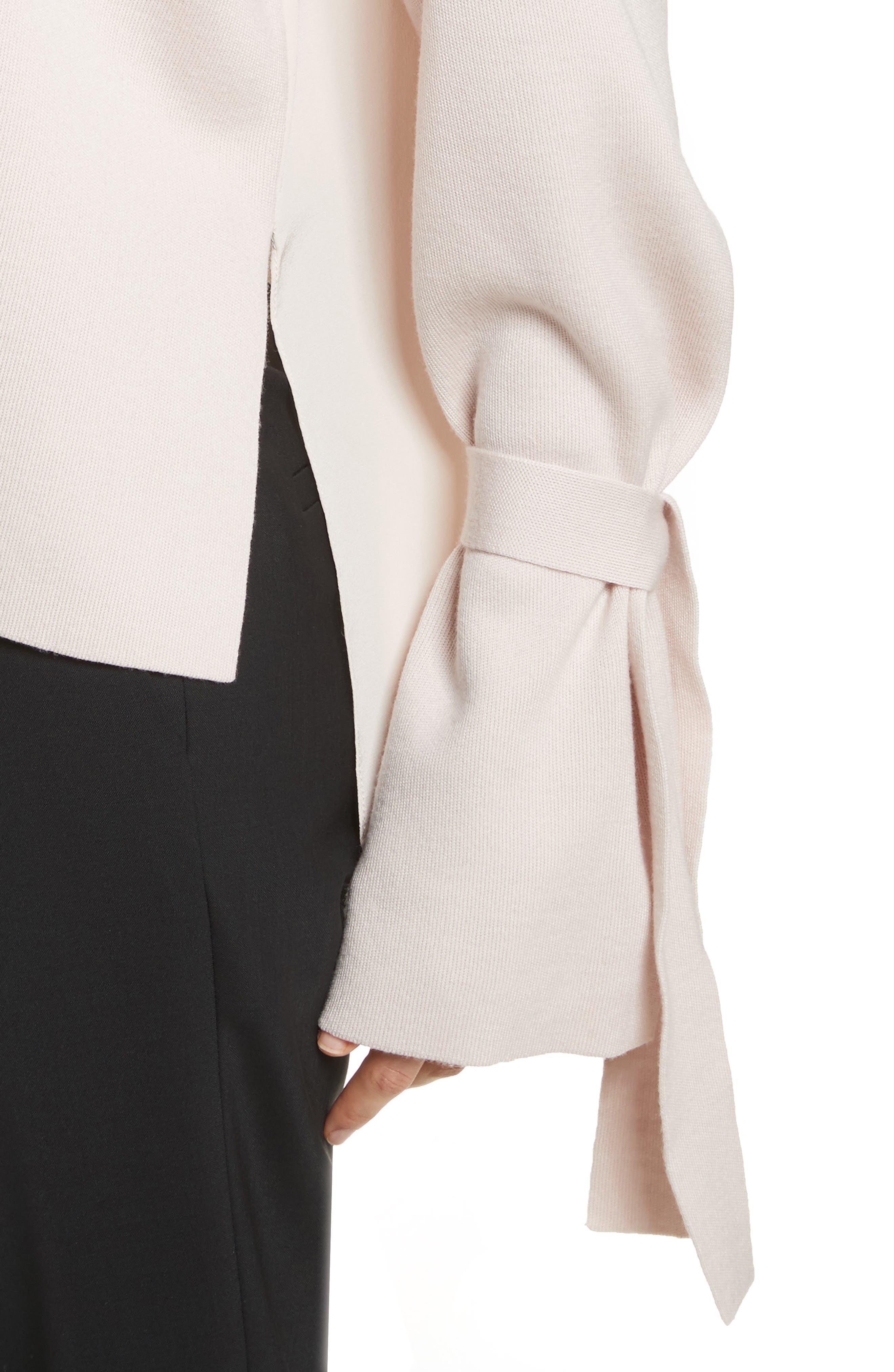 Merino Wool & Silk Bell Sleeve Pullover,                             Alternate thumbnail 8, color,