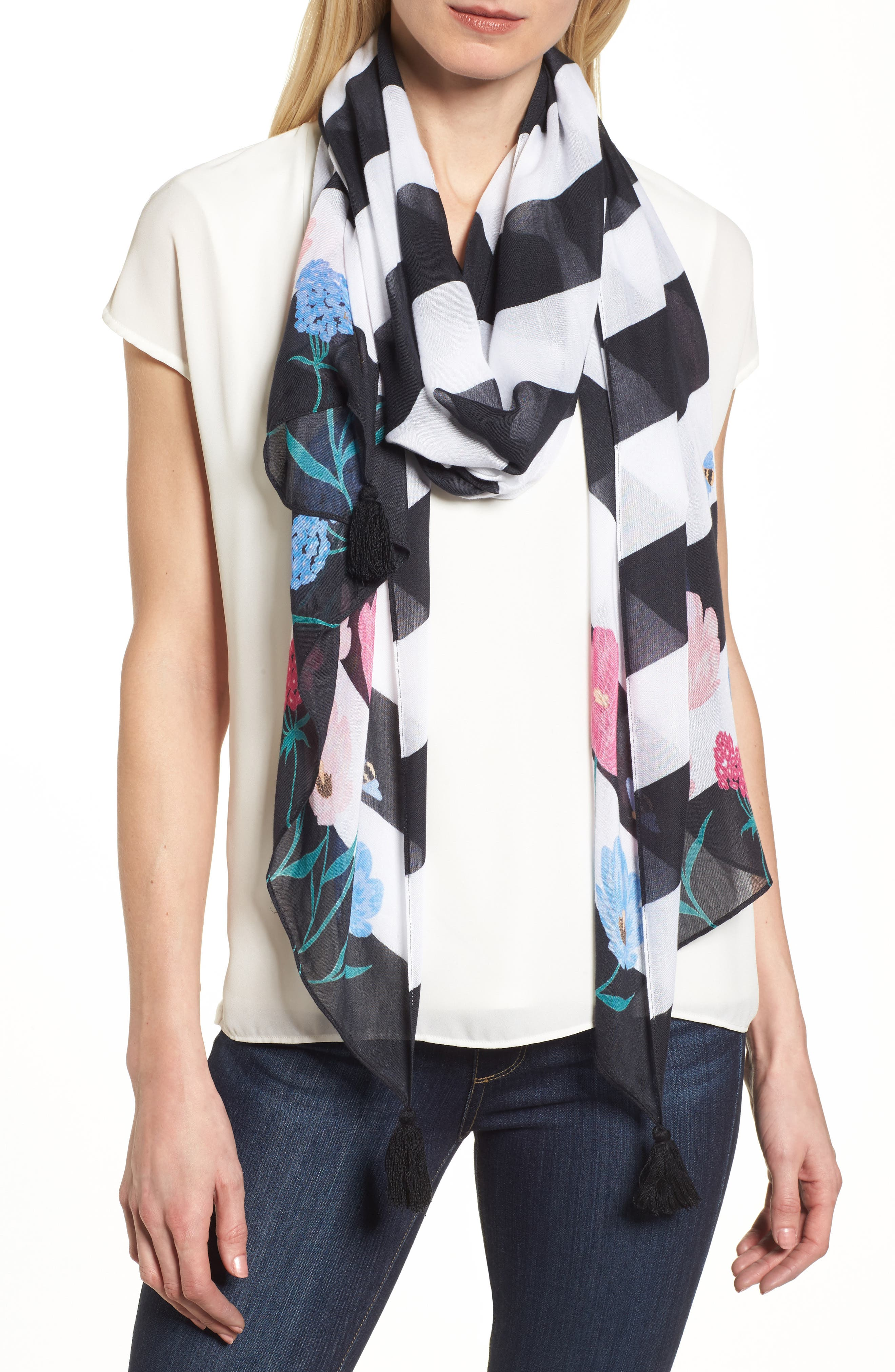 blossom stripe scarf,                             Main thumbnail 1, color,                             001