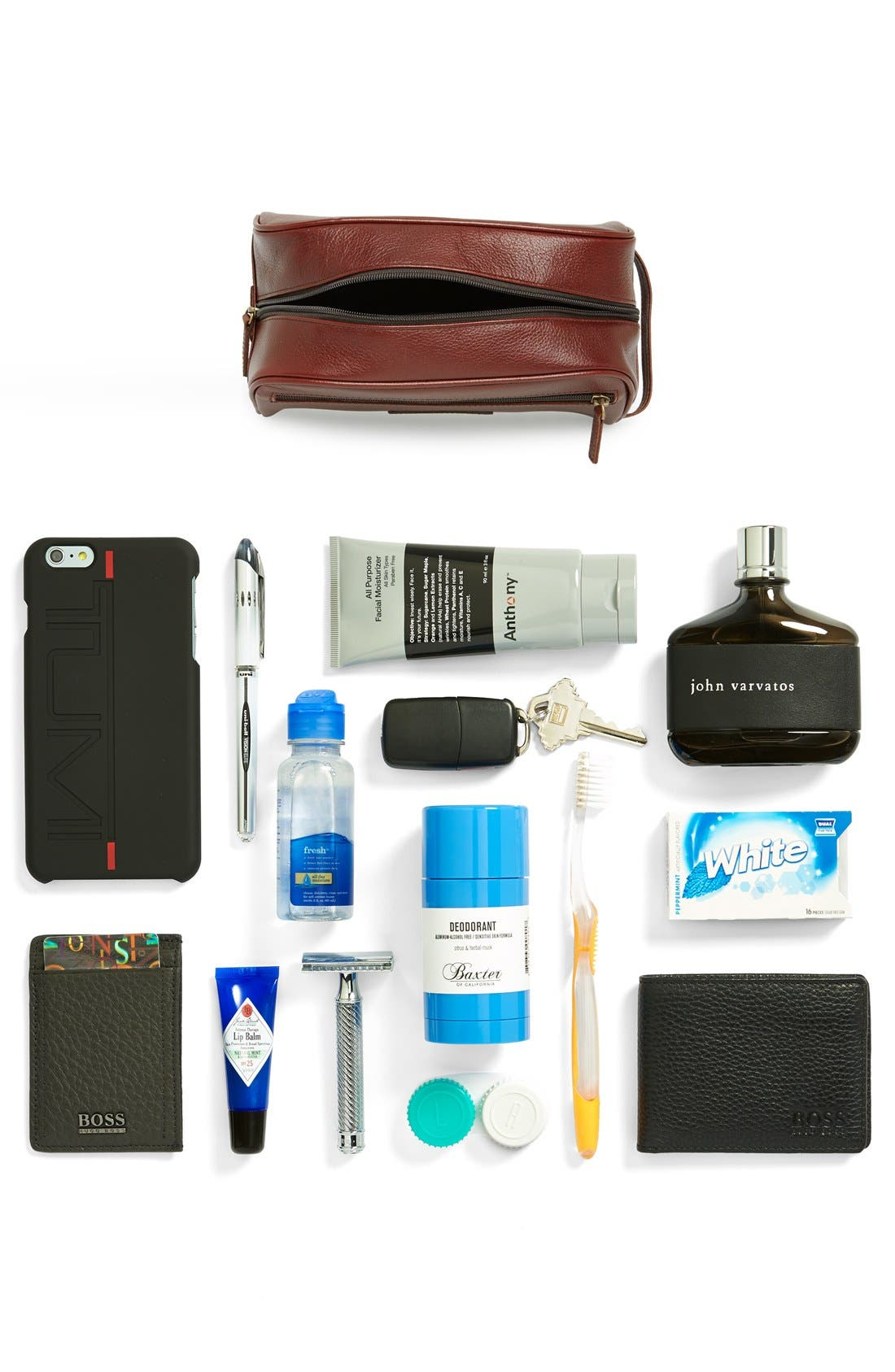 Leather Travel Kit,                             Alternate thumbnail 3, color,                             DARK BROWN