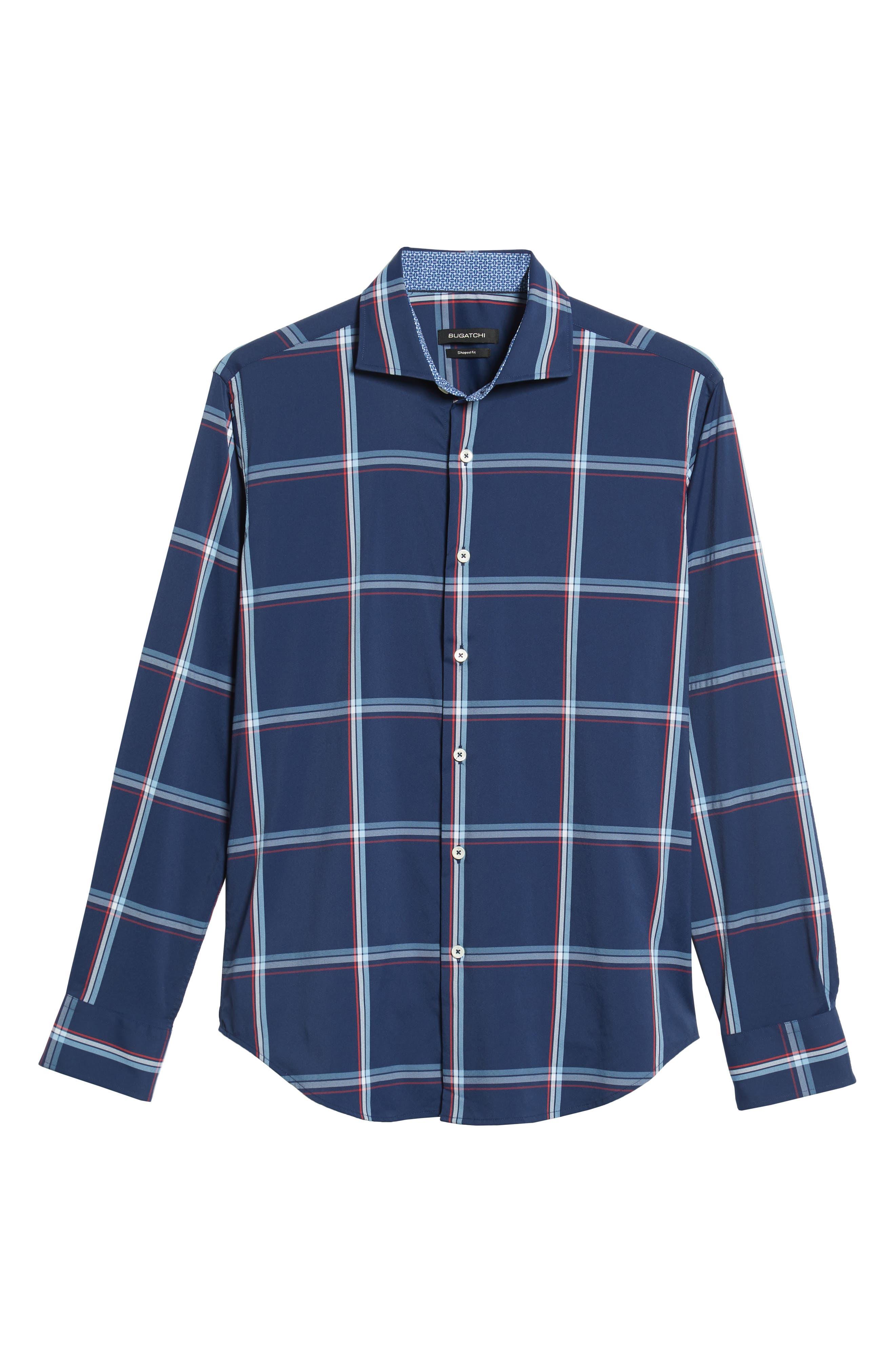 Shaped Fit Print Sport Shirt,                             Alternate thumbnail 5, color,                             CLASSIC BLUE