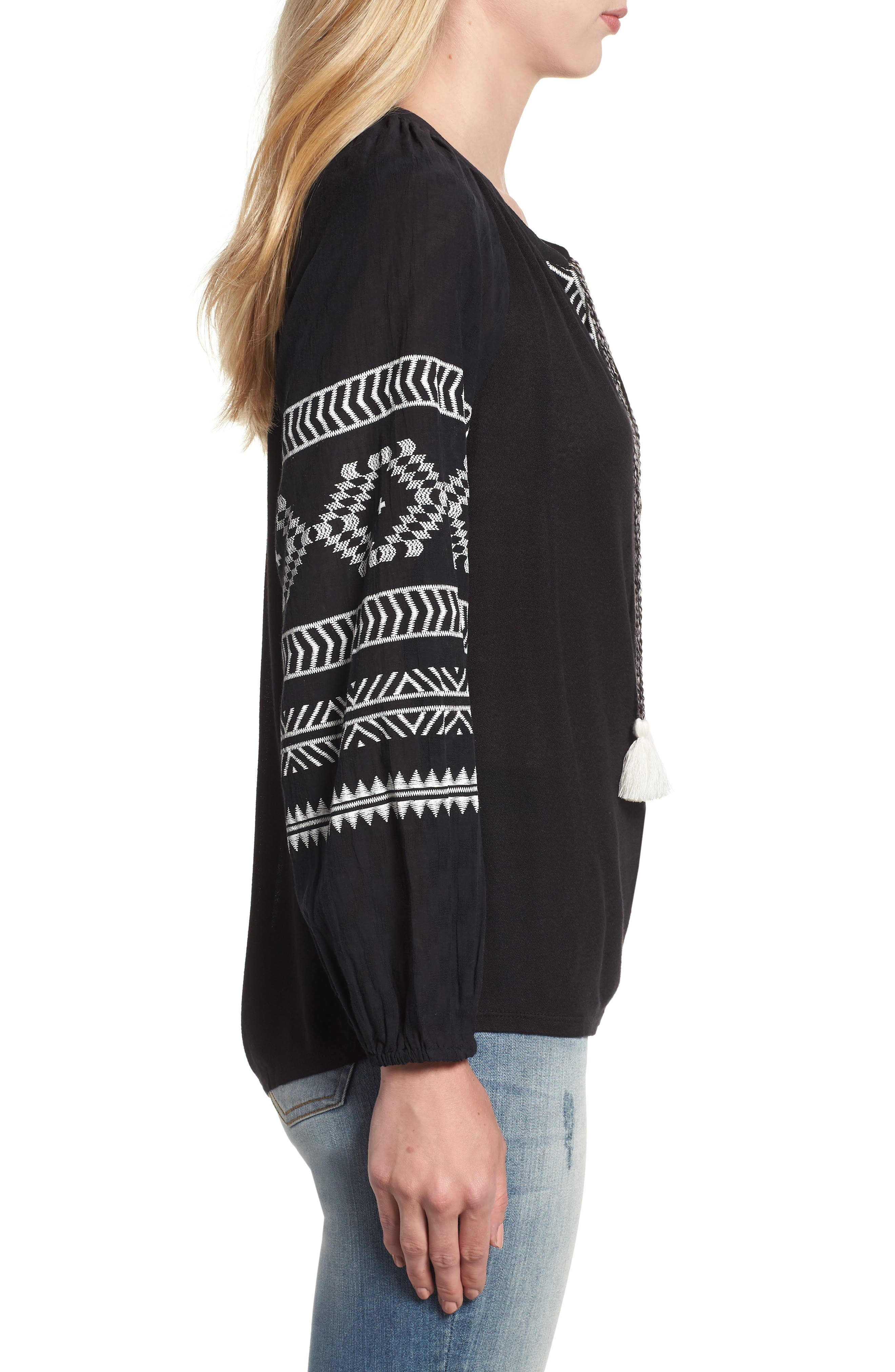 Embroidered Peasant Blouse,                             Alternate thumbnail 3, color,                             BLACK W/ CREAM
