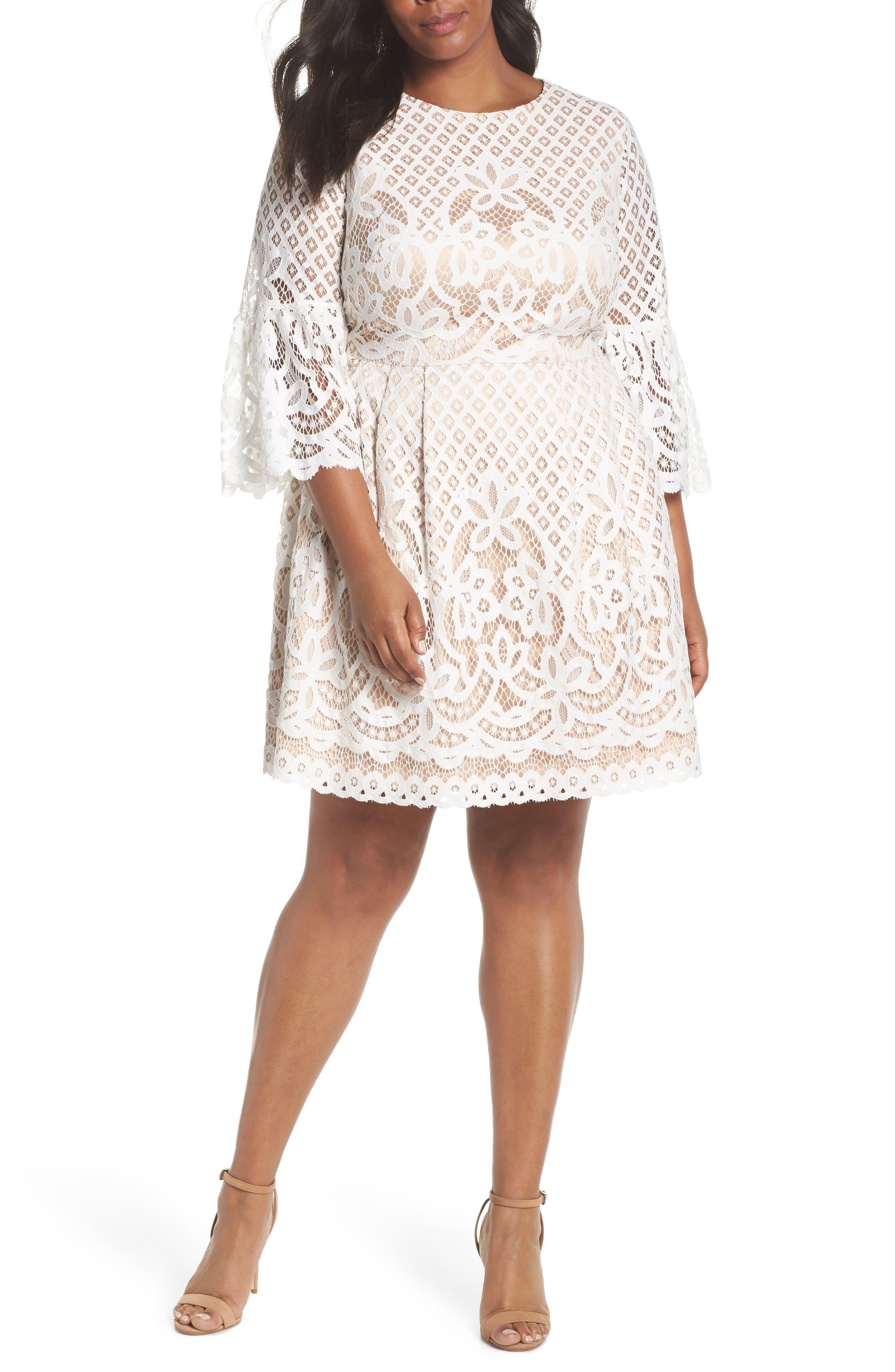 Plus Size Eliza J Bell Sleeve Lace Fit & Flare Dress, Ivory