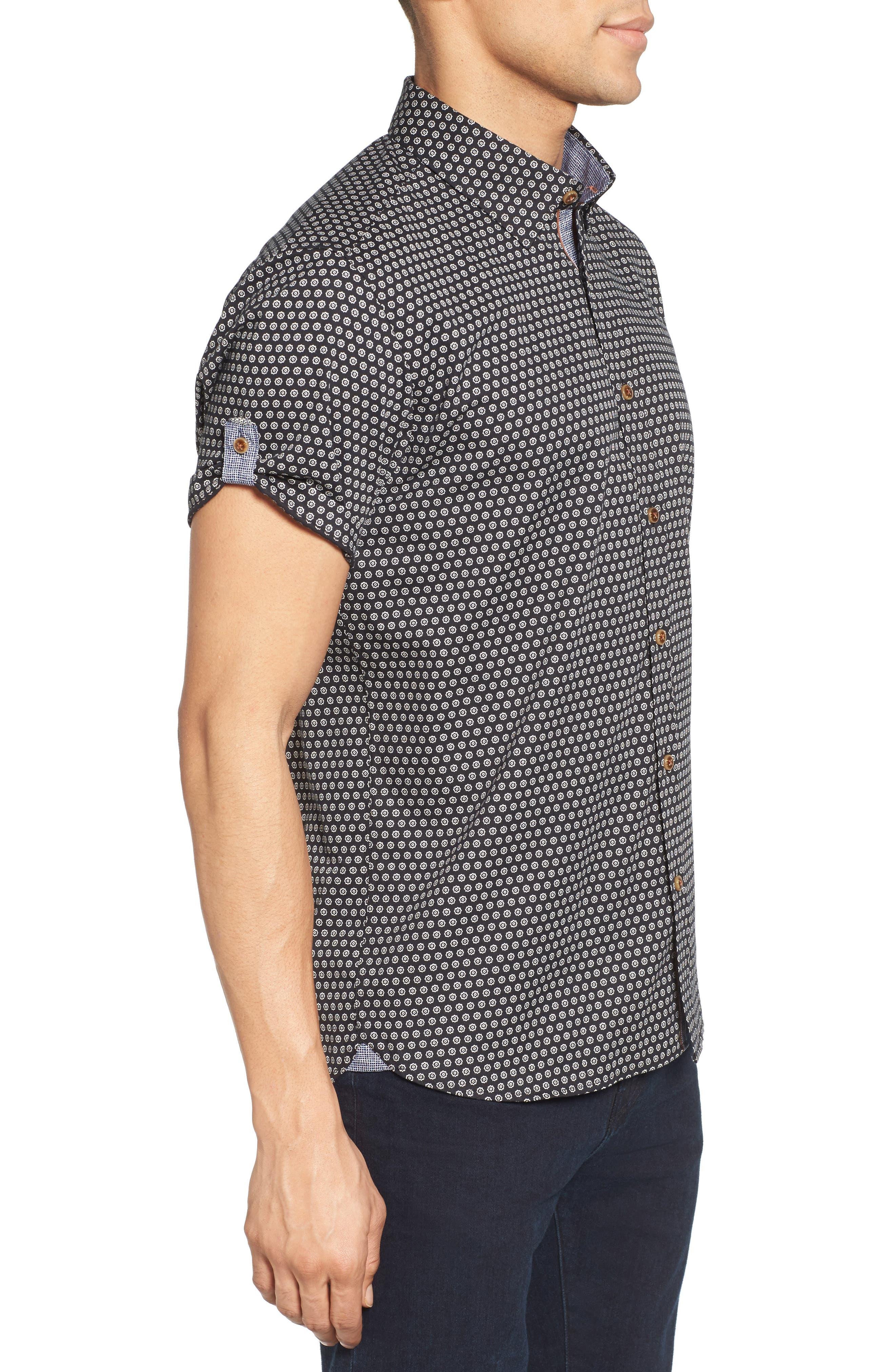 Braaks Extra Slim Fit Flower Print Sport Shirt,                             Alternate thumbnail 3, color,                             001