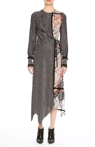 Fringe Trim Asymmetrical Stripe Silk Dress, video thumbnail
