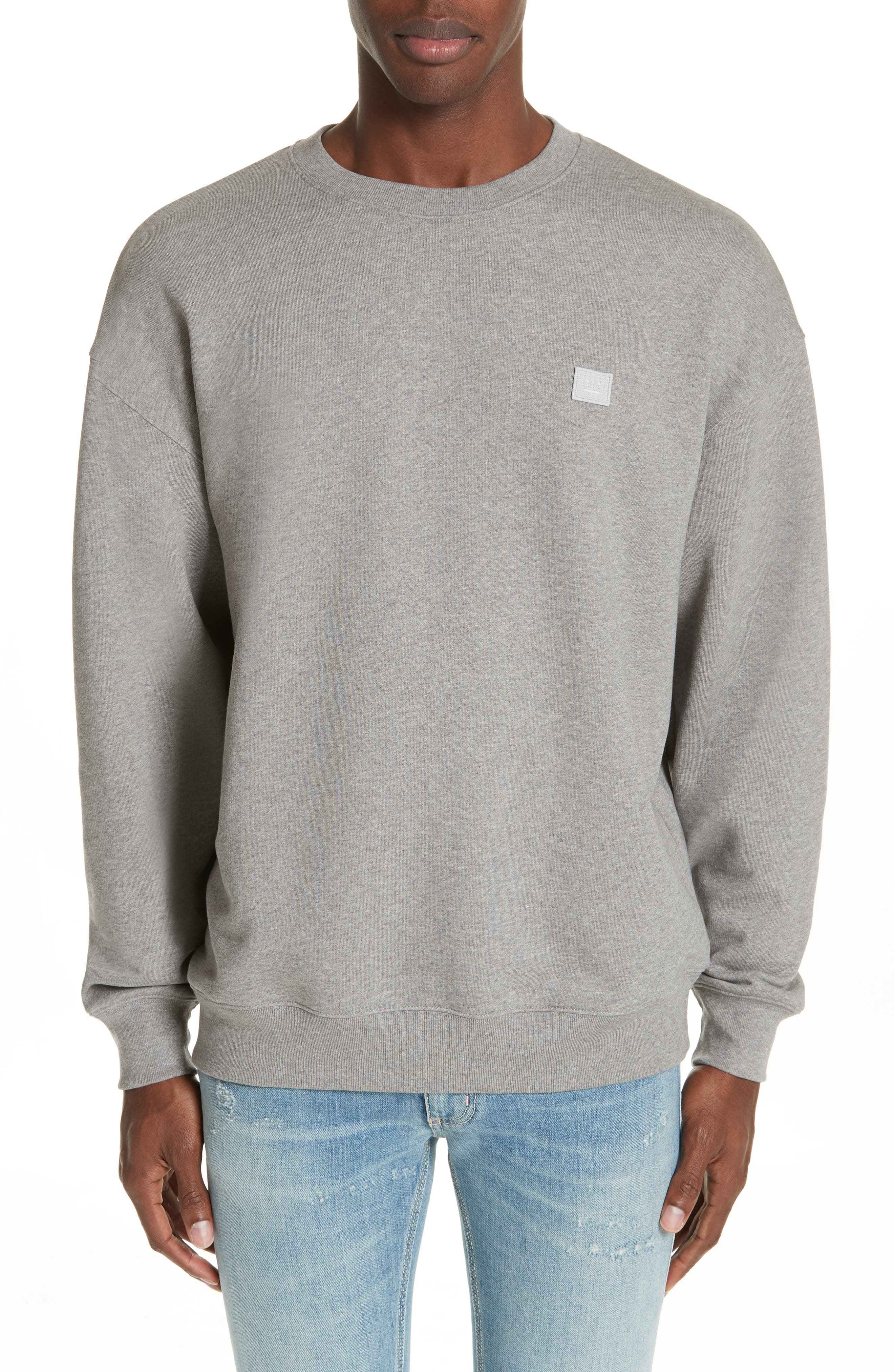 ACNE STUDIOS,                             Forba Face Sweatshirt,                             Main thumbnail 1, color,                             LIGHT GREY MELANGE